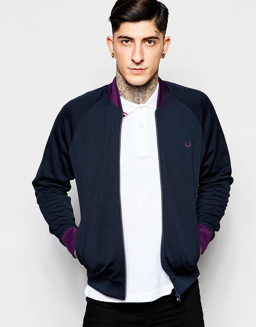 fred perry track jacket with contrast collar in blue for men lyst. Black Bedroom Furniture Sets. Home Design Ideas