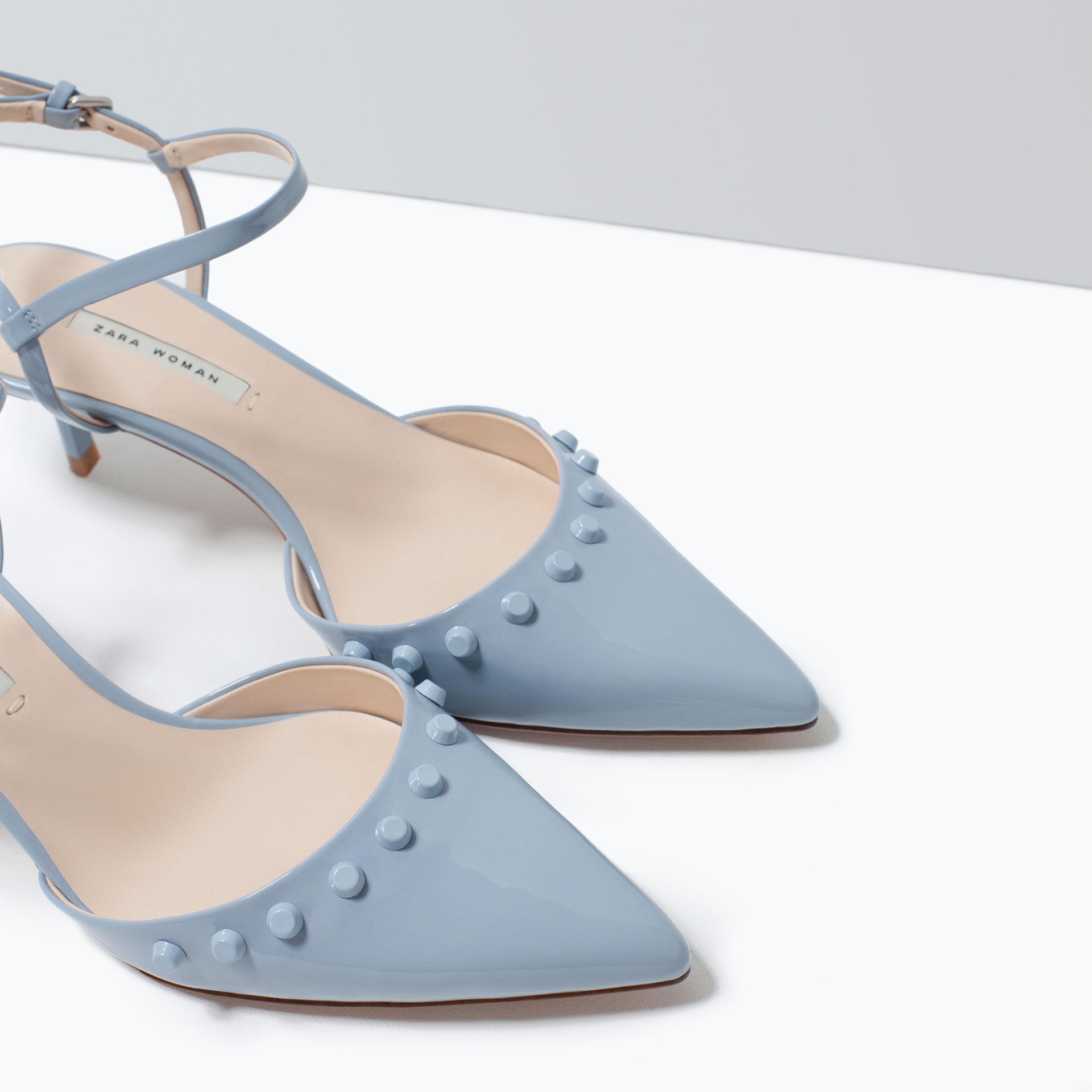 Zara Kitten Heel Studded Shoes