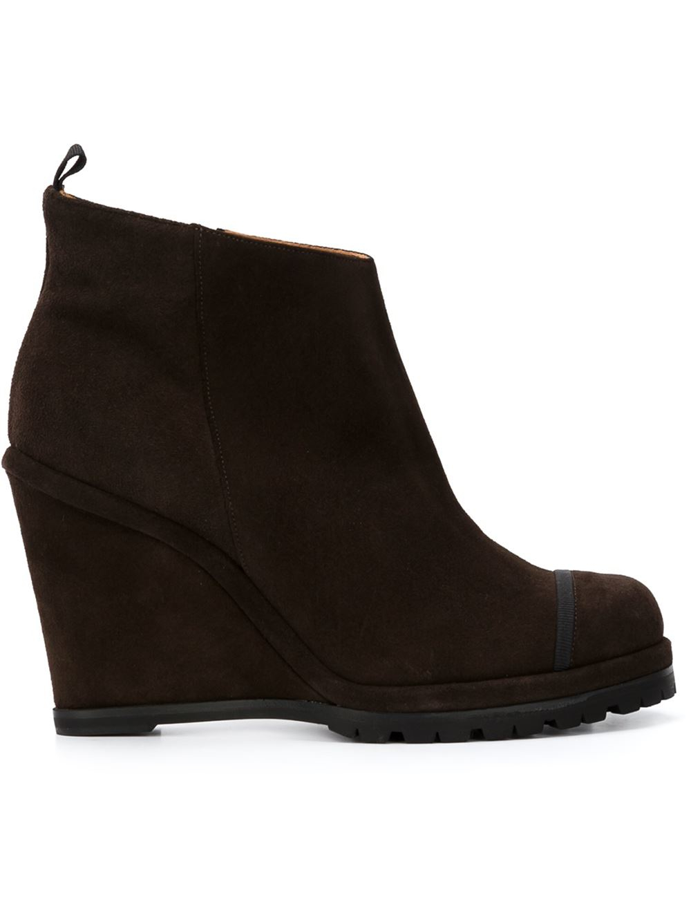 chuckies new york wedge ankle boots in black brown