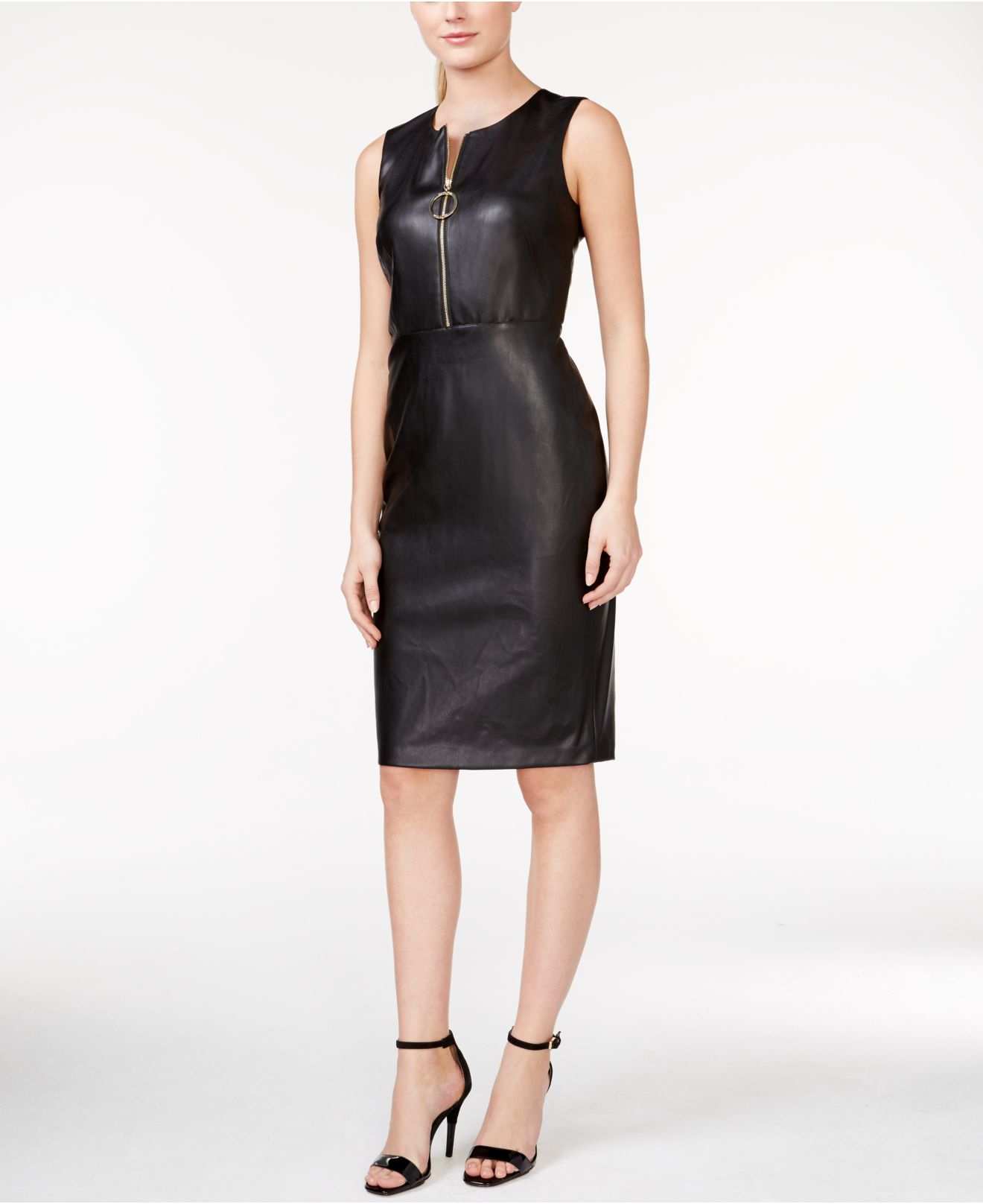 Calvin Klein Faux Leather Zip Front Dress In Black Lyst