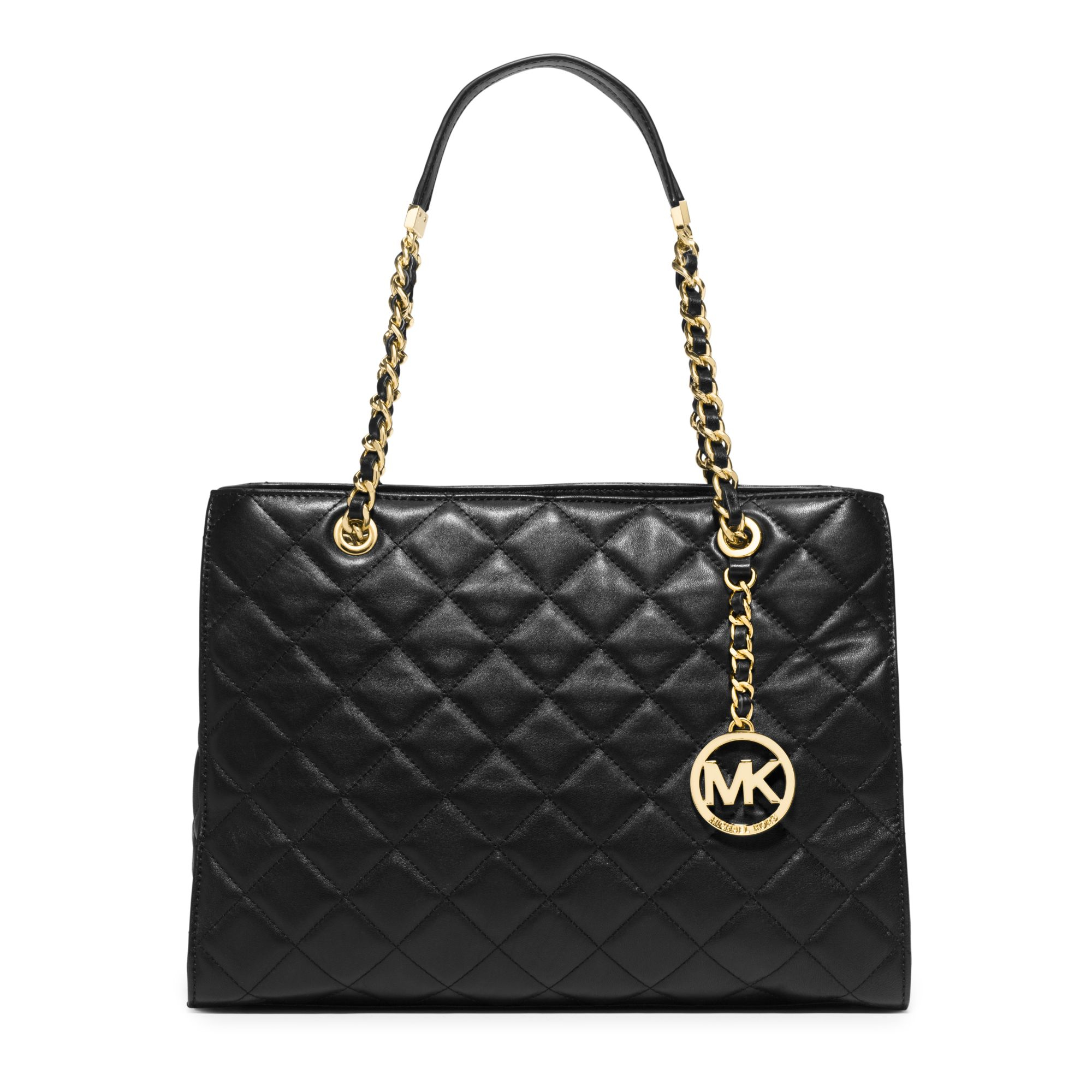 Michael Kors Susannah Large Quilted Leather Tote In Black