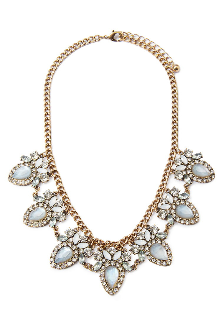 Forever 21 Faux Gem Statement Necklace in Blue