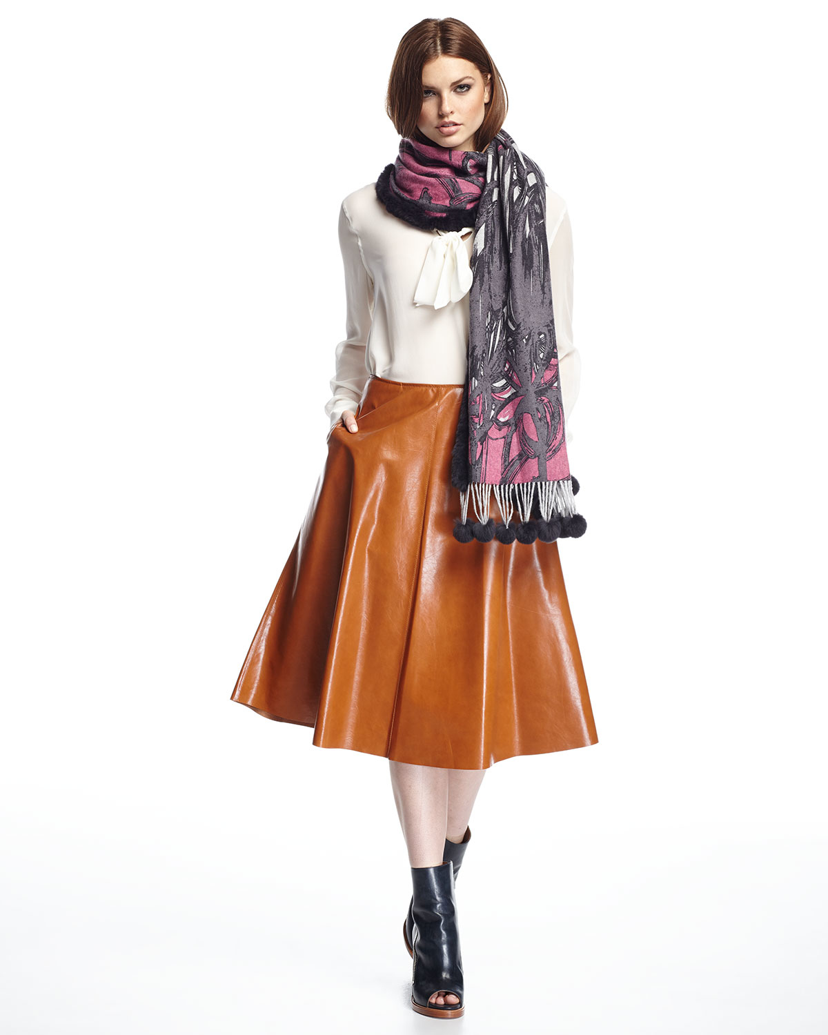 Lafayette 148 new york Leather A-line Midi Skirt in Brown | Lyst