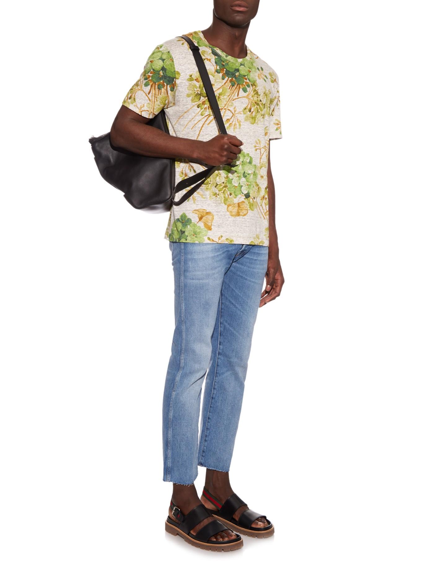 273cbf12841ff5 Gucci Double-strap Leather Sandals in Black for Men - Lyst