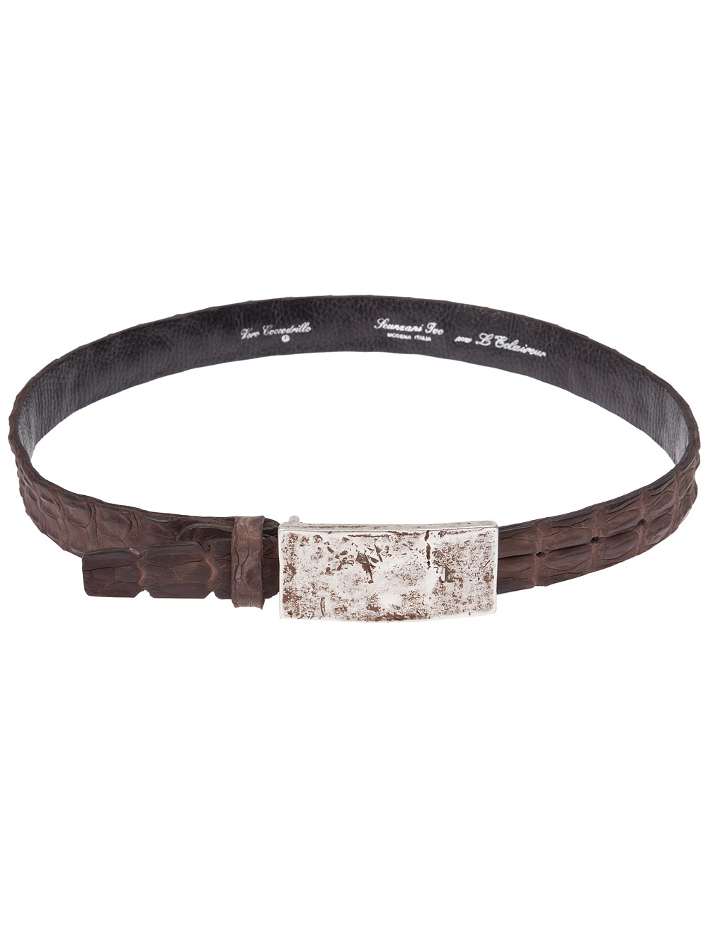 scunzani ivo crocodile leather belt in brown lyst