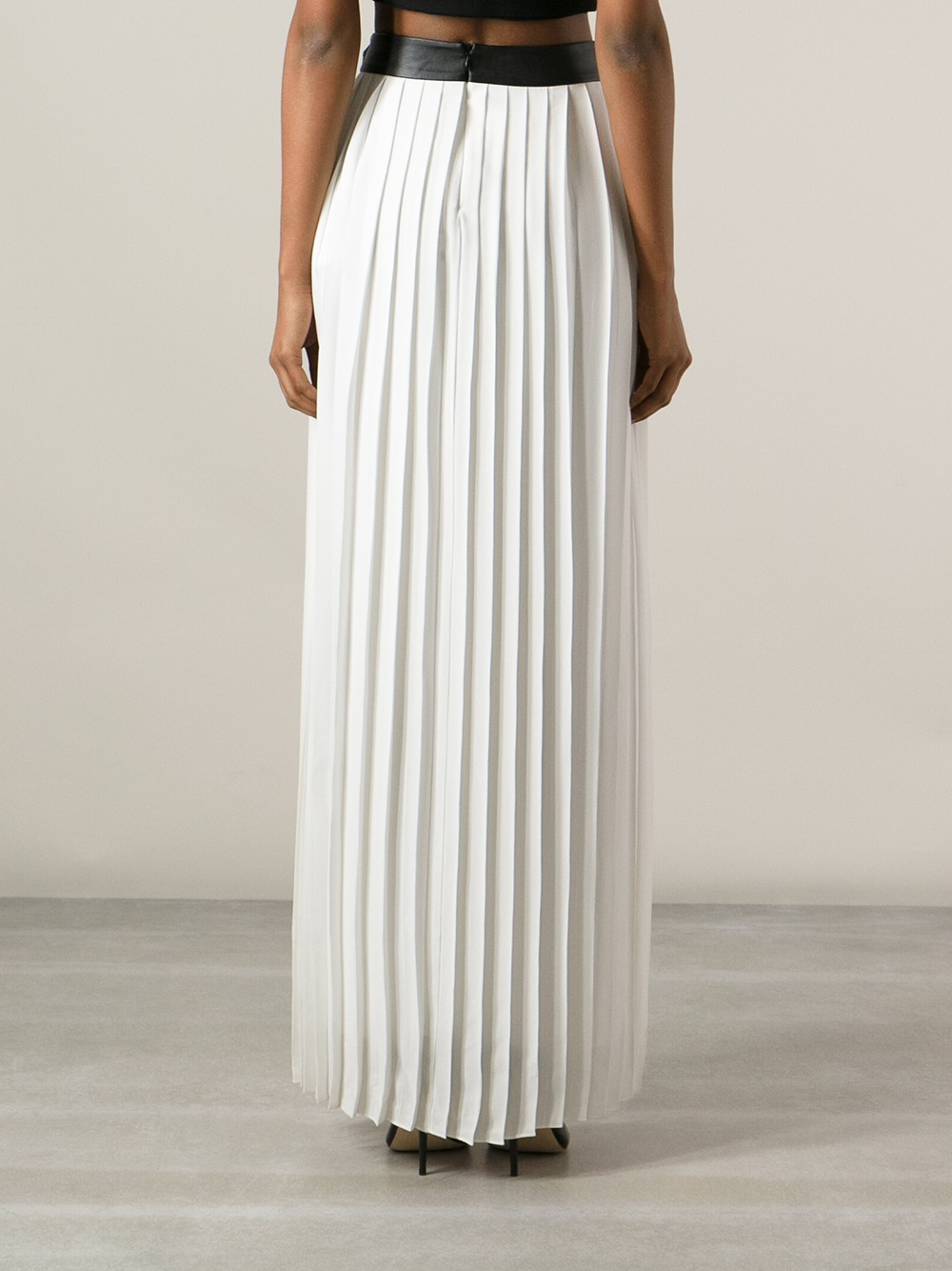 White Pleated Maxi Skirt