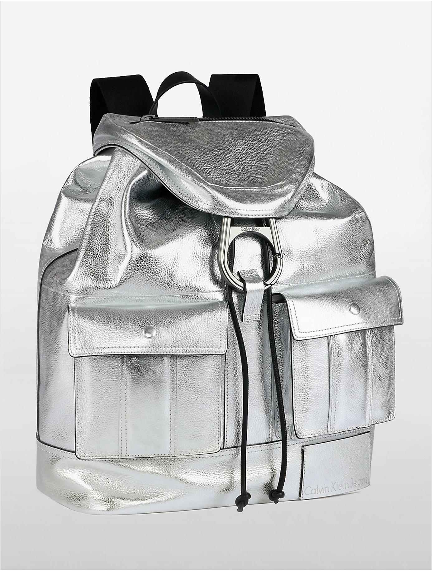 a8adc8f857 Lyst - Calvin Klein Jeans Urban Surplus Metallic Drawstring Backpack ...