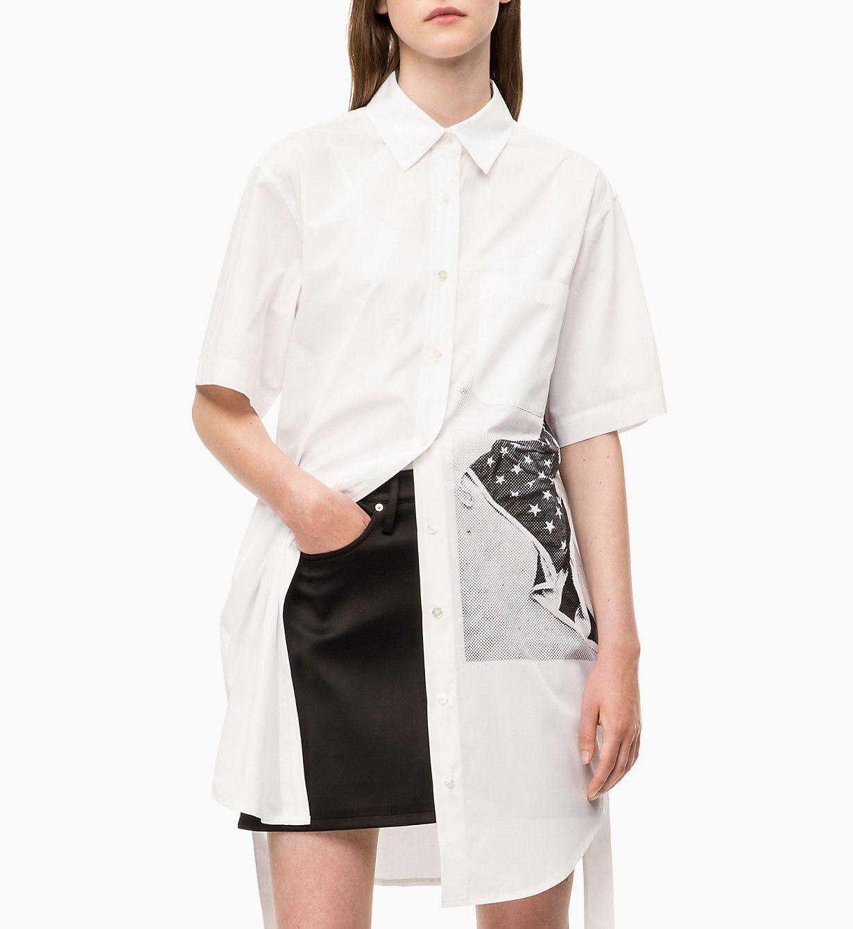 ef263722ff40 Calvin Klein - White Flag Print Shirt Dress - Lyst. View fullscreen