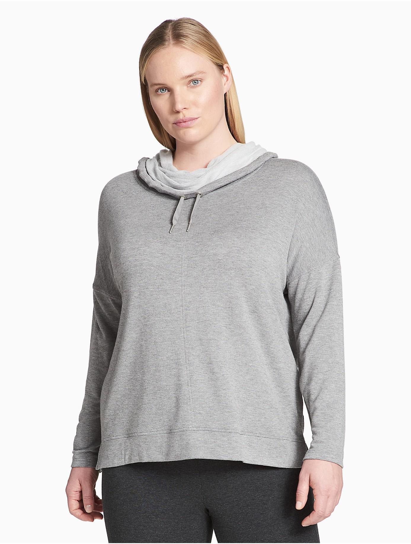 96155368bed Lyst - Calvin Klein Plus Size Performance Cowl Neck Drop Shoulder ...