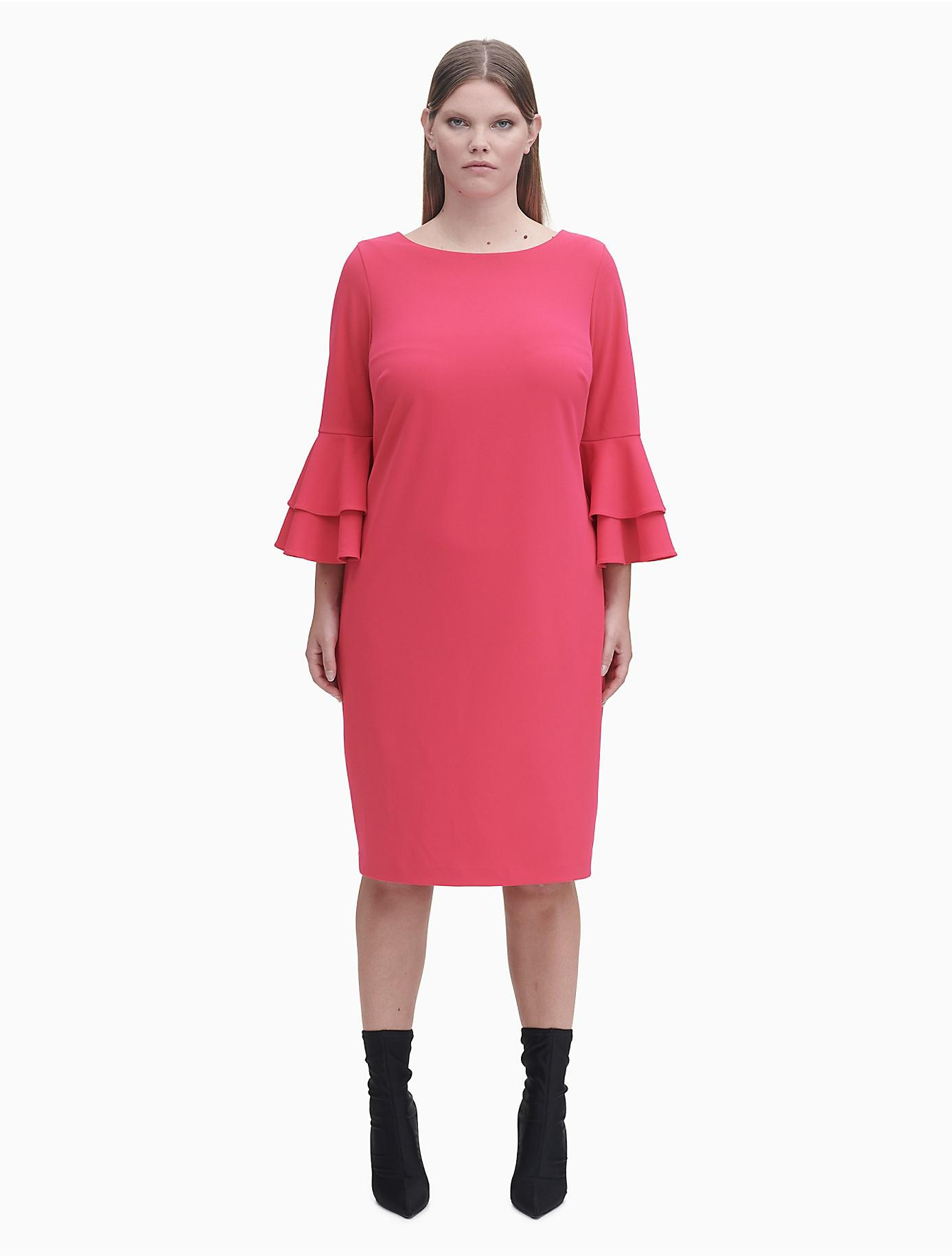 cf315515a8d Lyst - Calvin Klein Plus Size Tiered Sleeve Sheath Dress in Pink