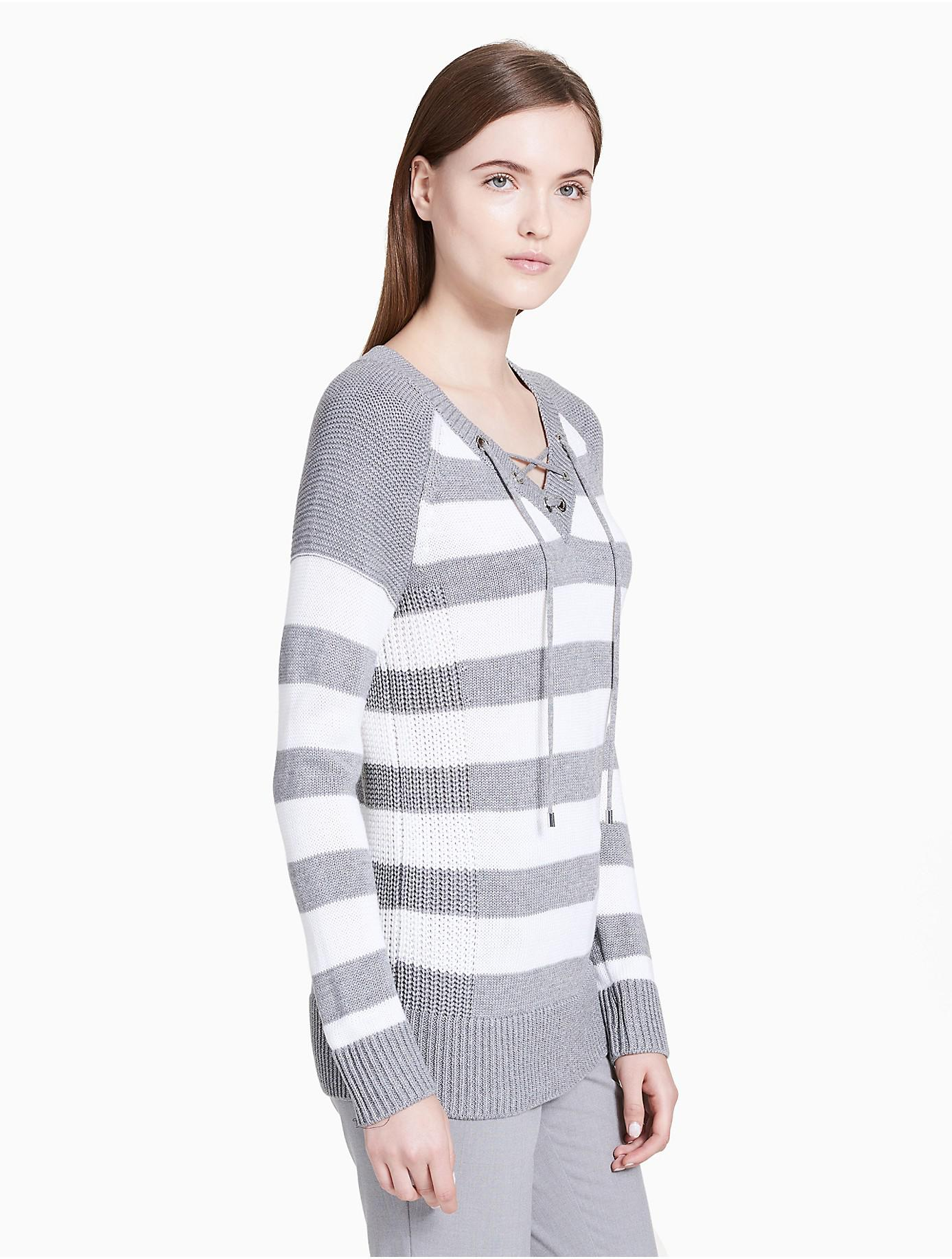 24c8bc518d Lyst - Calvin Klein Striped V-neck Lace-up Sweater in Gray