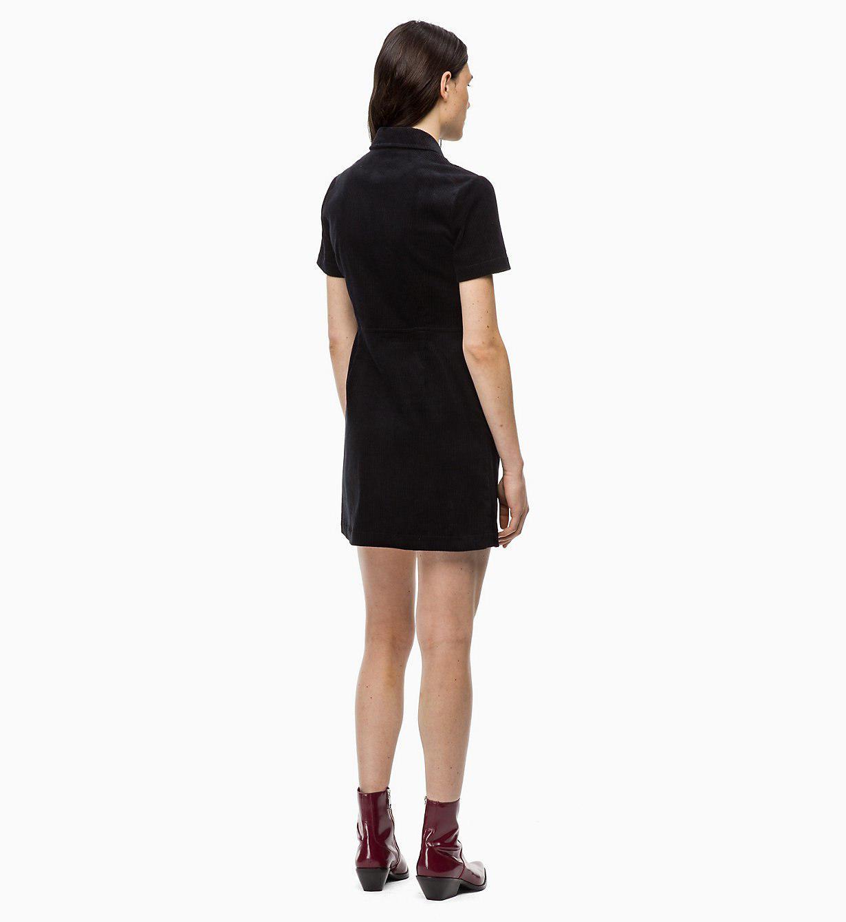 9183fe18a39 Calvin Klein Corduroy Zip-up Dress in Black - Lyst