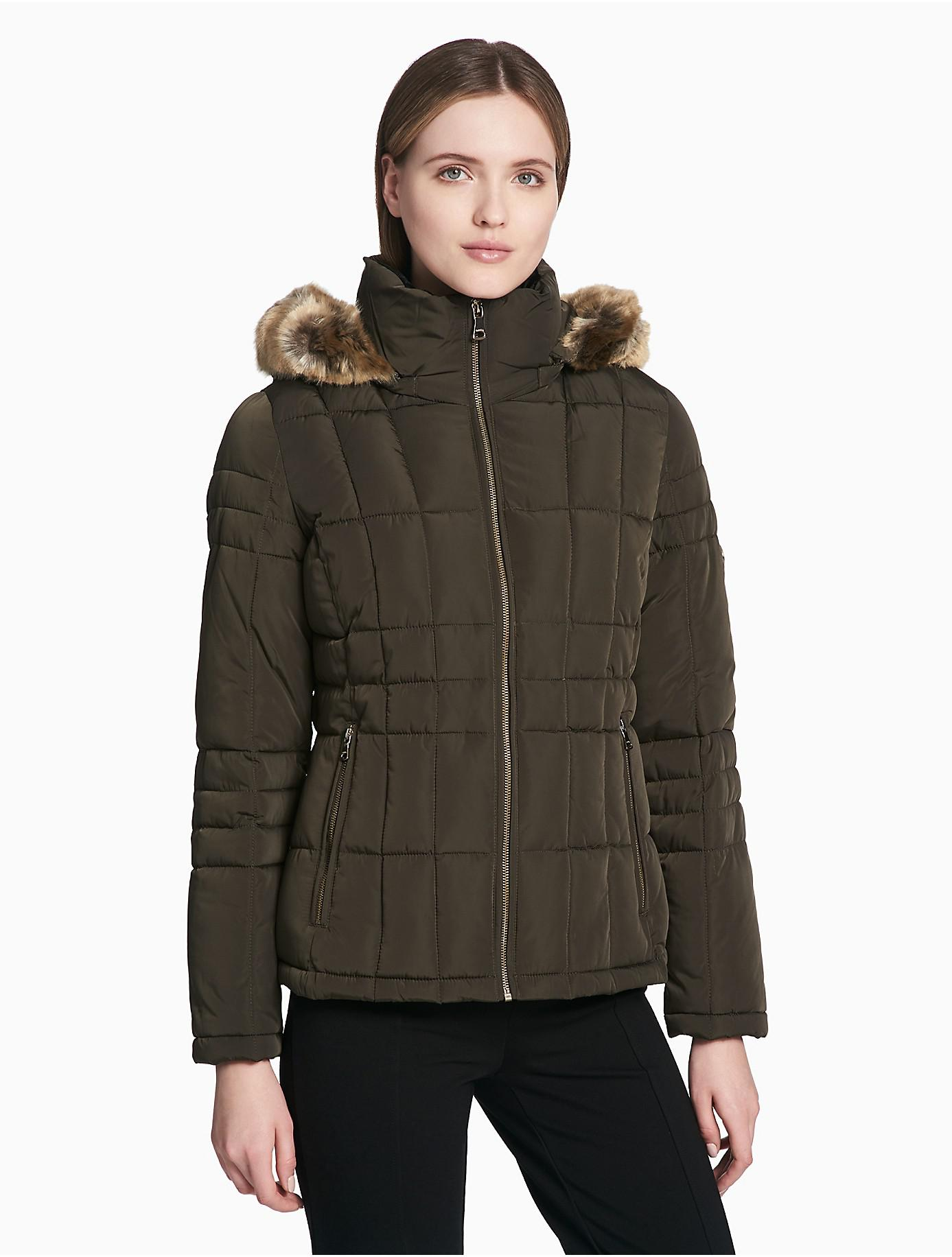 Lyst Calvin Klein Quilted Faux Fur Hooded Zip Jacket In