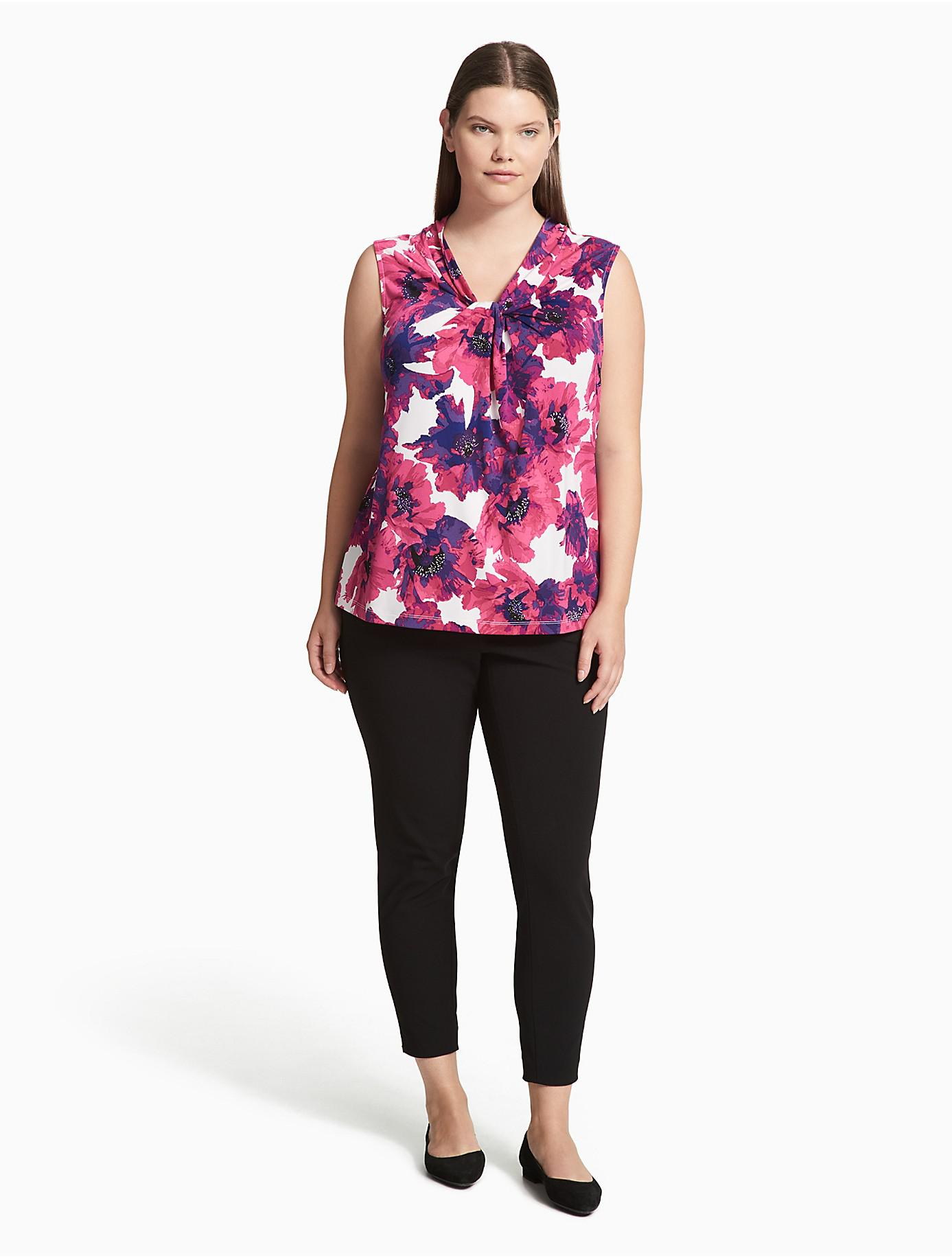 351a360c6681d Lyst - Calvin Klein Plus Size Floral Knot Neck Cami Top in Pink