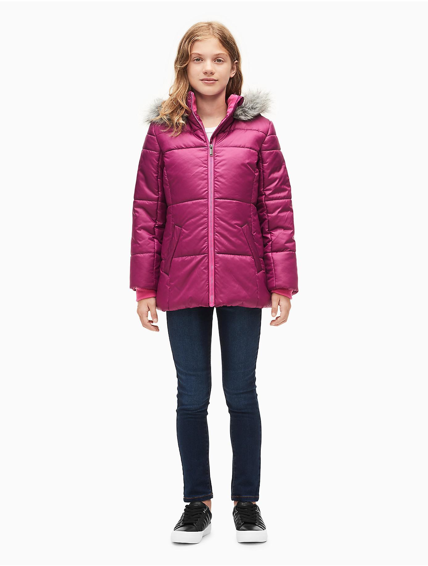 fd29ceb0d2ae Lyst - Calvin Klein Girls Logo Sport Hooded Puffer Jacket in Pink