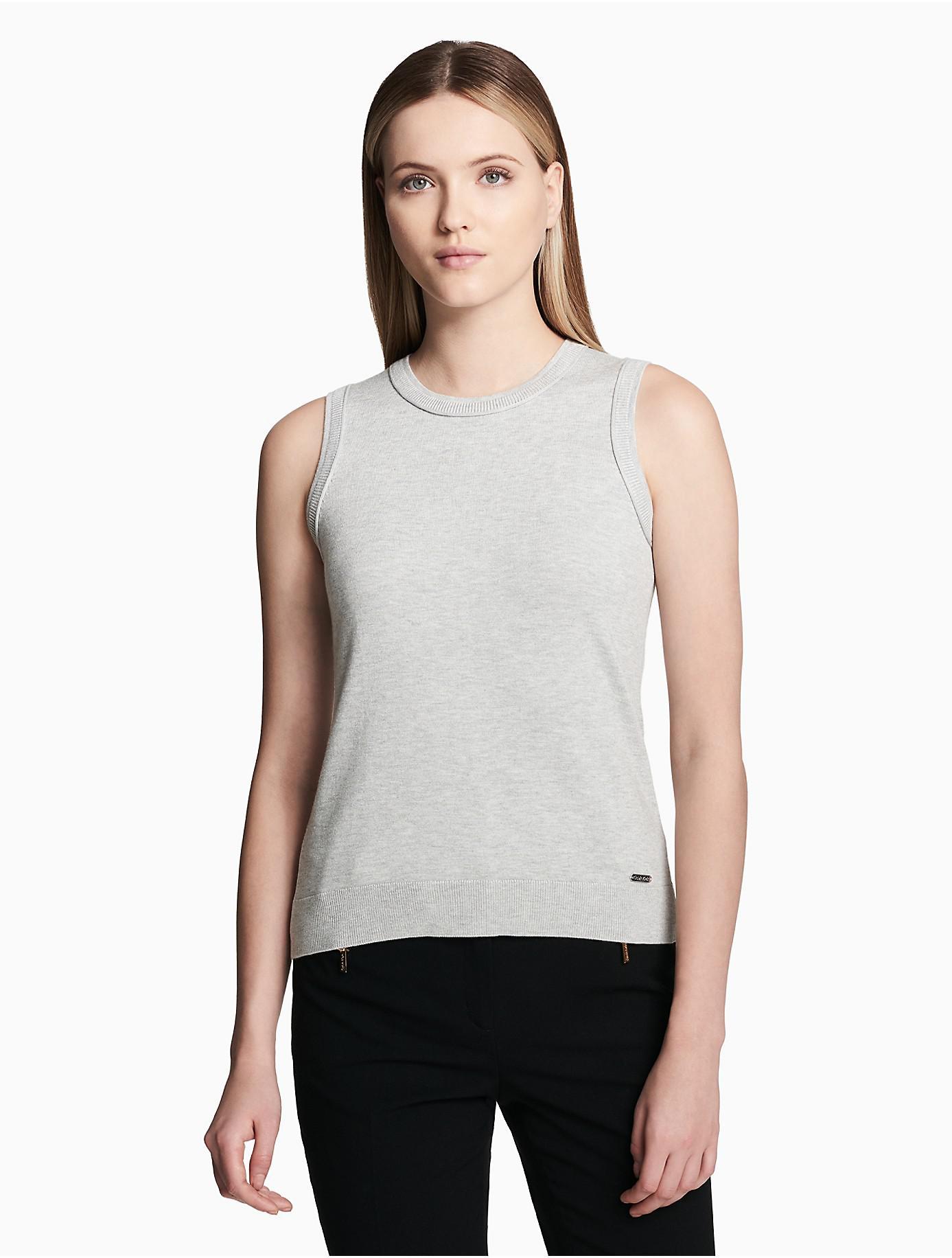 6749e4d46cfd7a Lyst - Calvin Klein Crewneck Cardigan Shell Tank Top in Gray