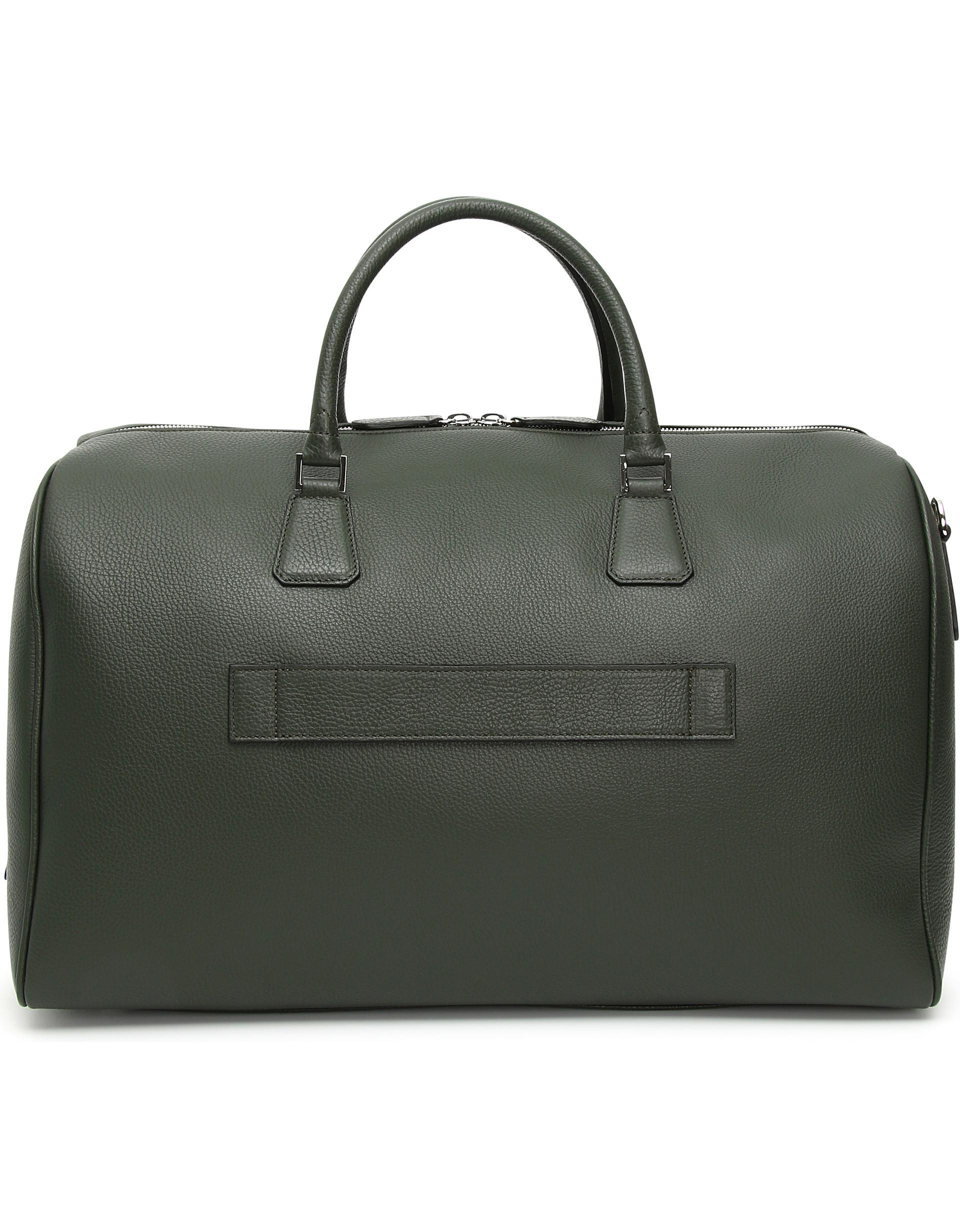 cc9bdbc0a802 Lyst - Canali Green And Black Calfskin Leather Duffel Bag for Men