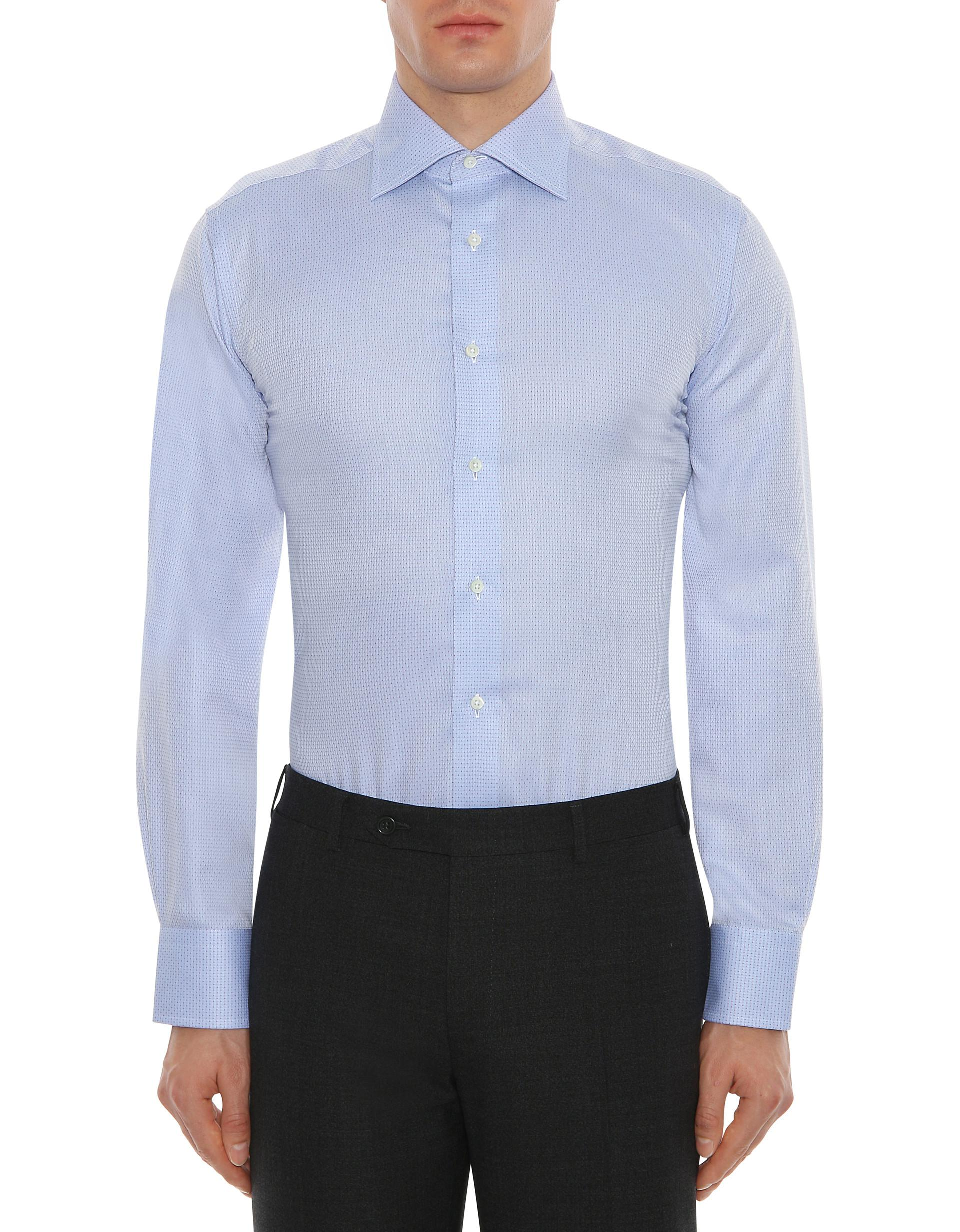 Lyst Canali Light Blue Impeccabile Cotton Dress Shirt With Red Pin