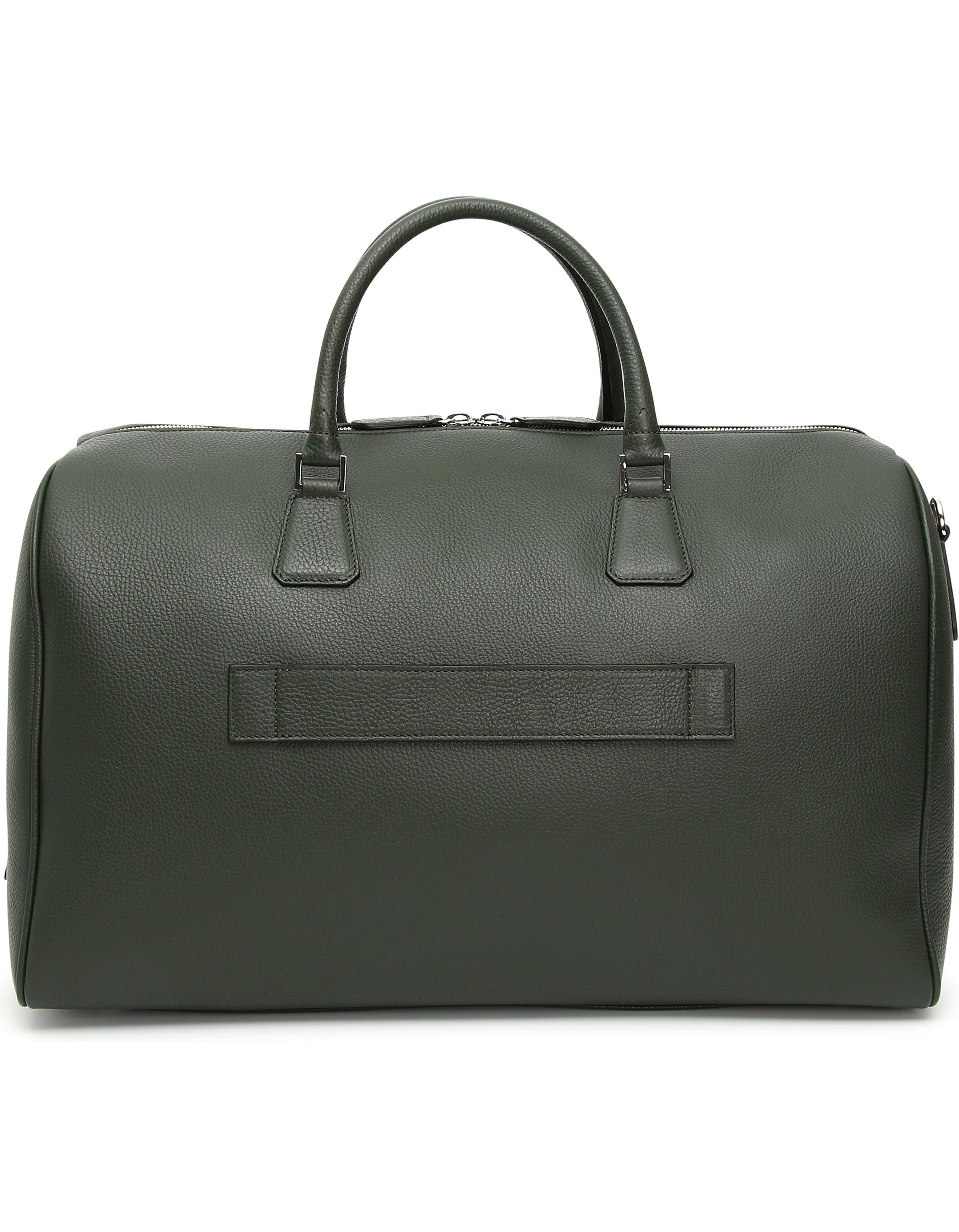 84e12df667c Lyst - Canali Green And Black Calfskin Leather Duffel Bag for Men