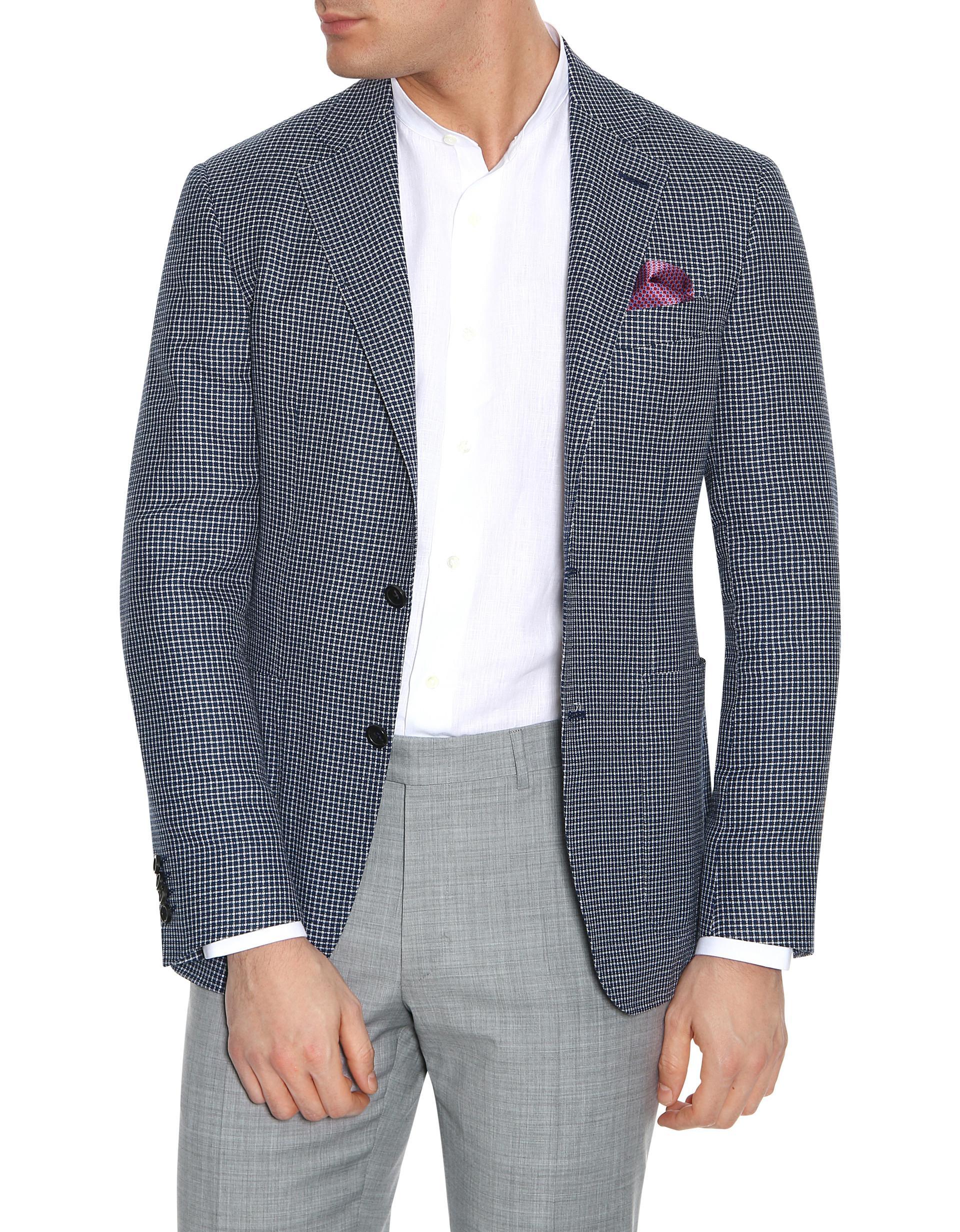 da6bfd8d2ba Canali Kei checked regularfit wool blazer t