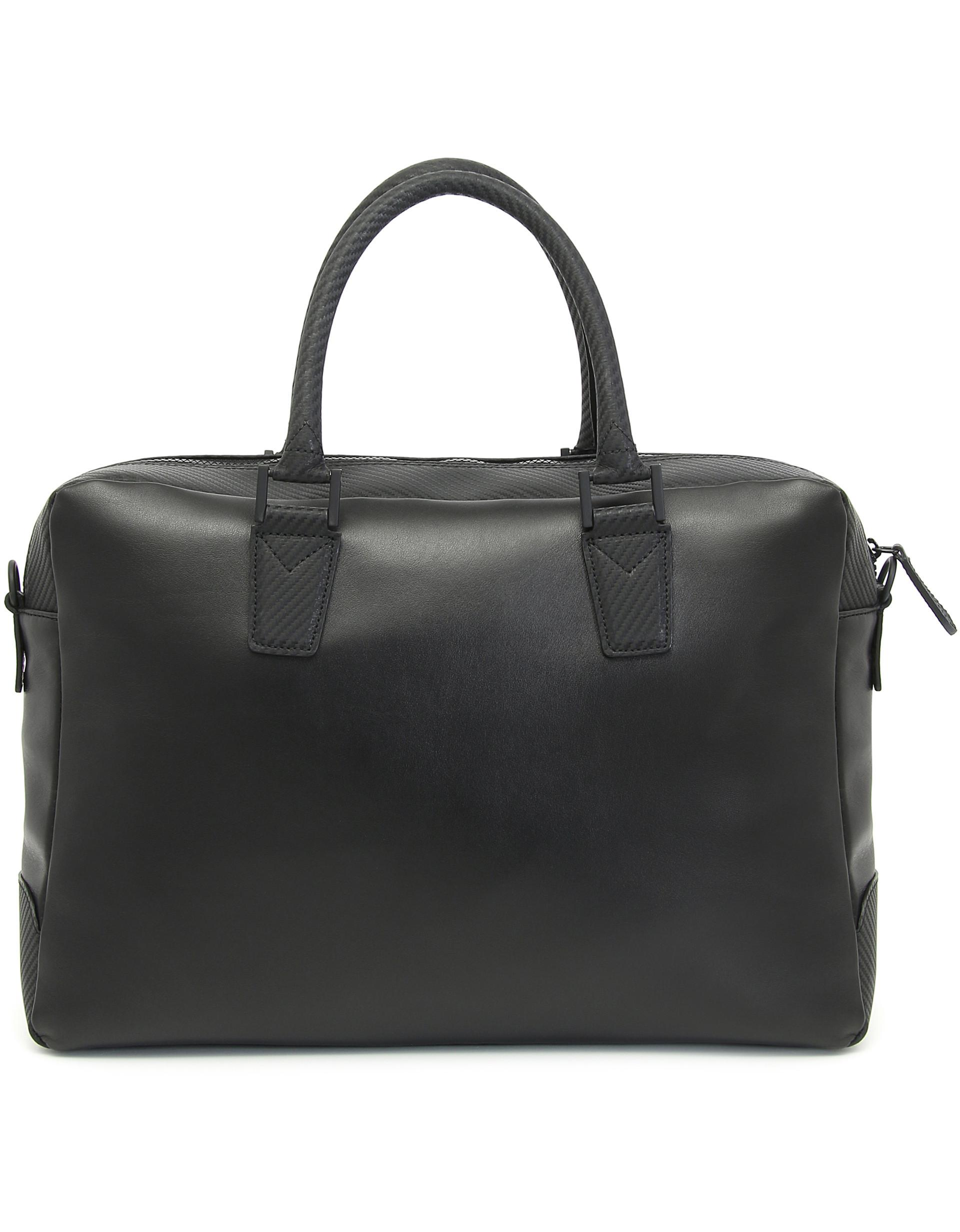 Lyst - Canali Black Carbon Textured Calfskin Leather Bag in Black for Men c3ae741697c8c