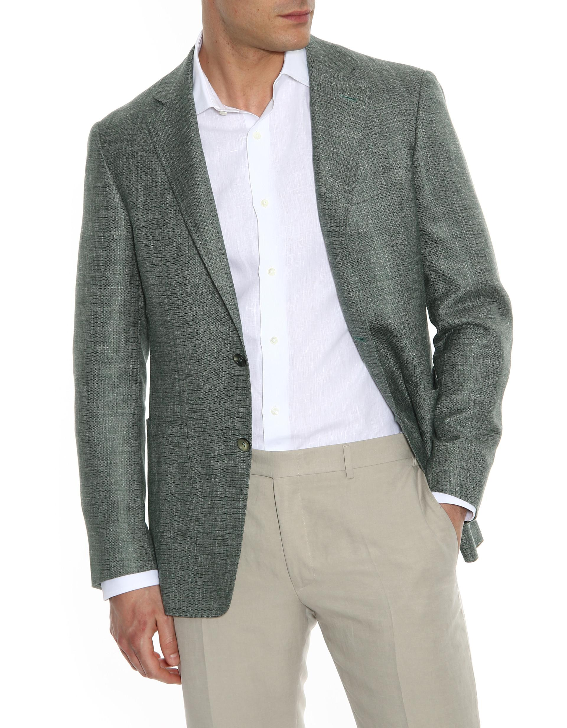 4d69781b85a Canali Gray Exclusive Venezia Super 150s wool check suit with Top  Construction-2_0