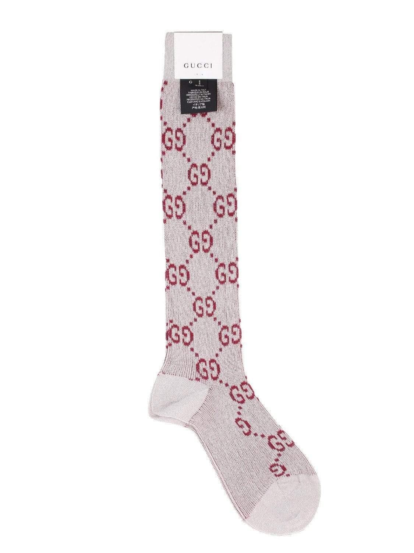 96c9b89348d Gucci - Gray Gg Logo Intarsia Metallic Knee High Socks - Lyst. View  fullscreen