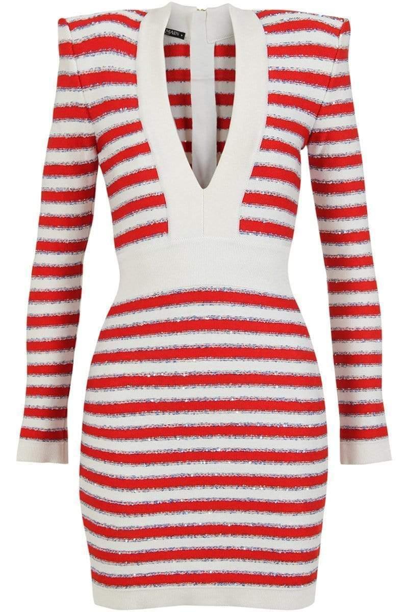 5eb87da3 Lyst - Balmain Striped Plunging Mini Dress in Red - Save 16%