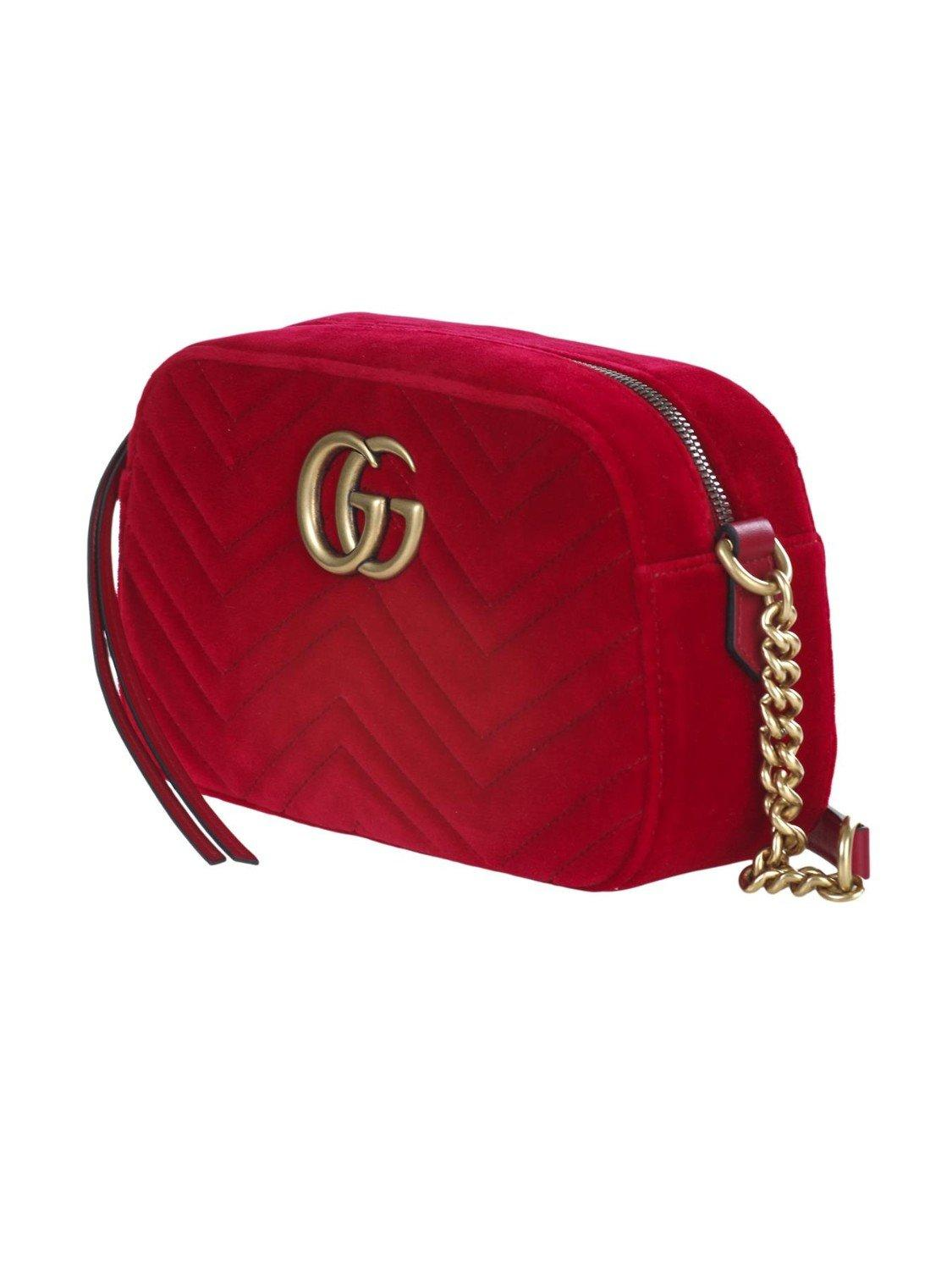 8045e5d8e Gucci - Red Small Shoulder Bag Gg Marmont In Soft Velvet Matelassé With Chevron  Pattern -. View fullscreen
