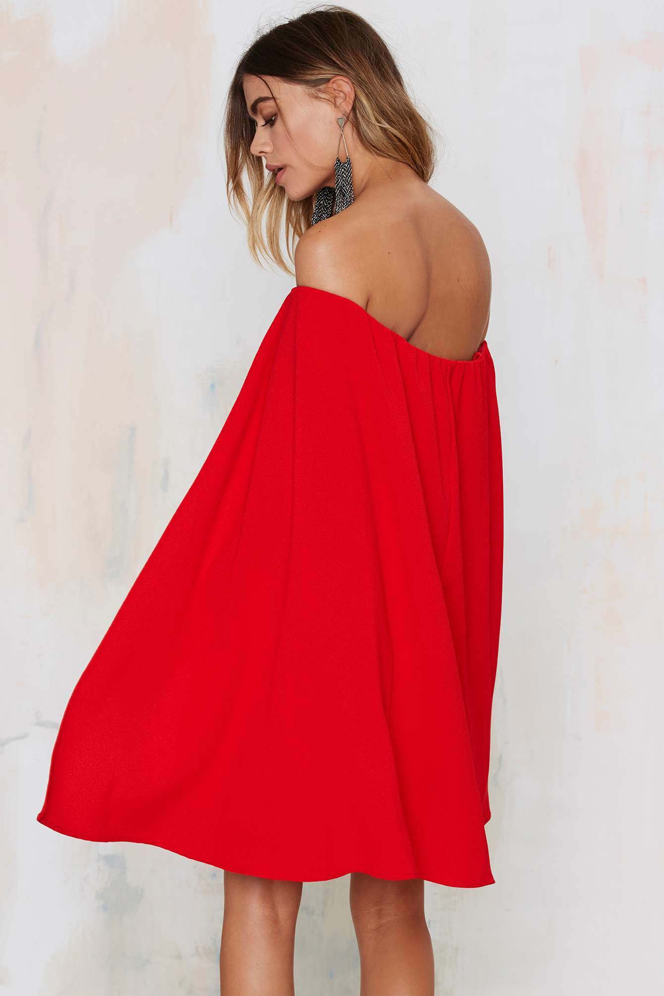 a52212be26c7 Lyst - Nasty Gal Sweetest Cape Off-the-shoulder Dress in Red