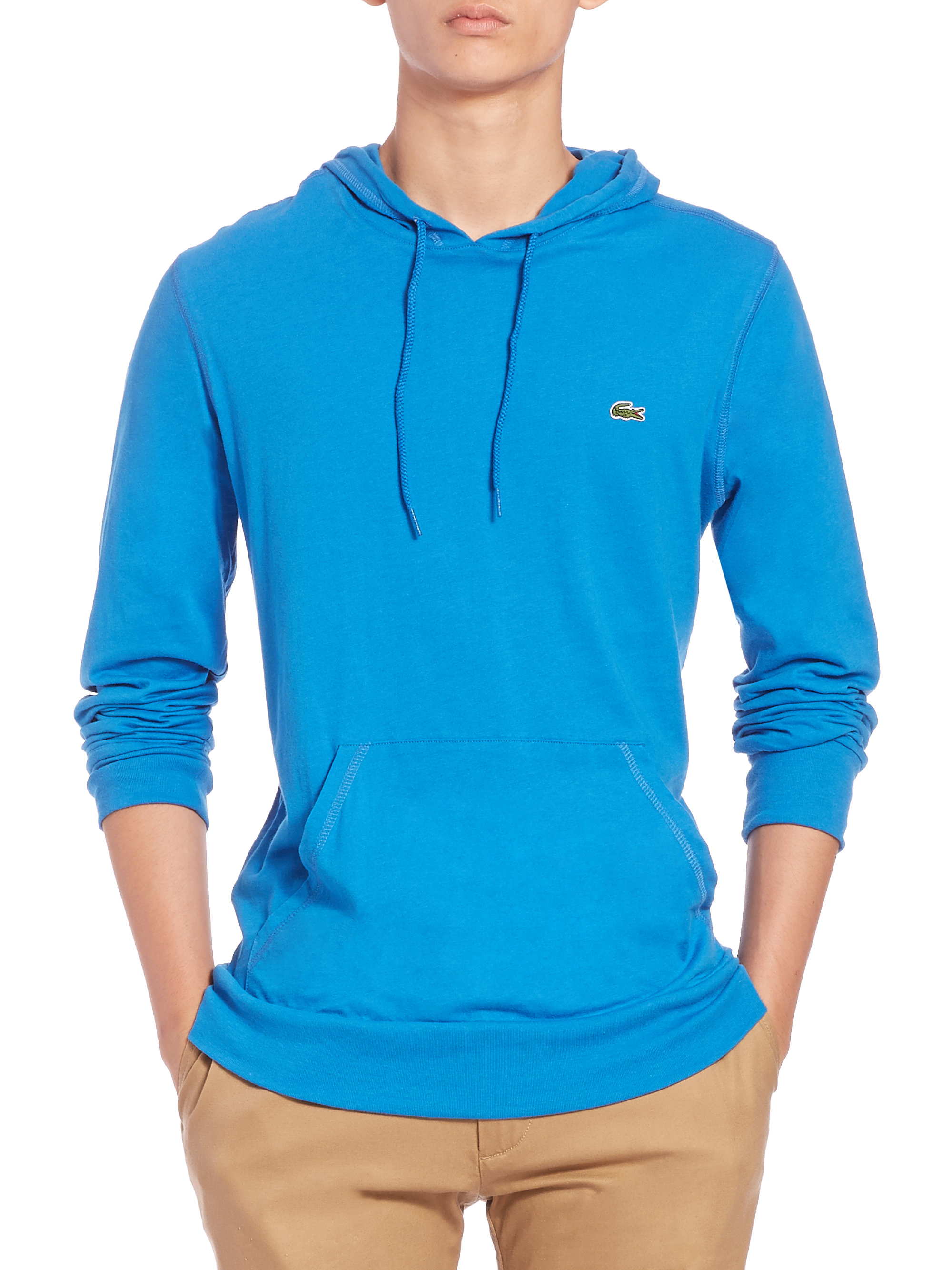 Lacoste Cotton Pullover Hoodie in Blue for Men | Lyst