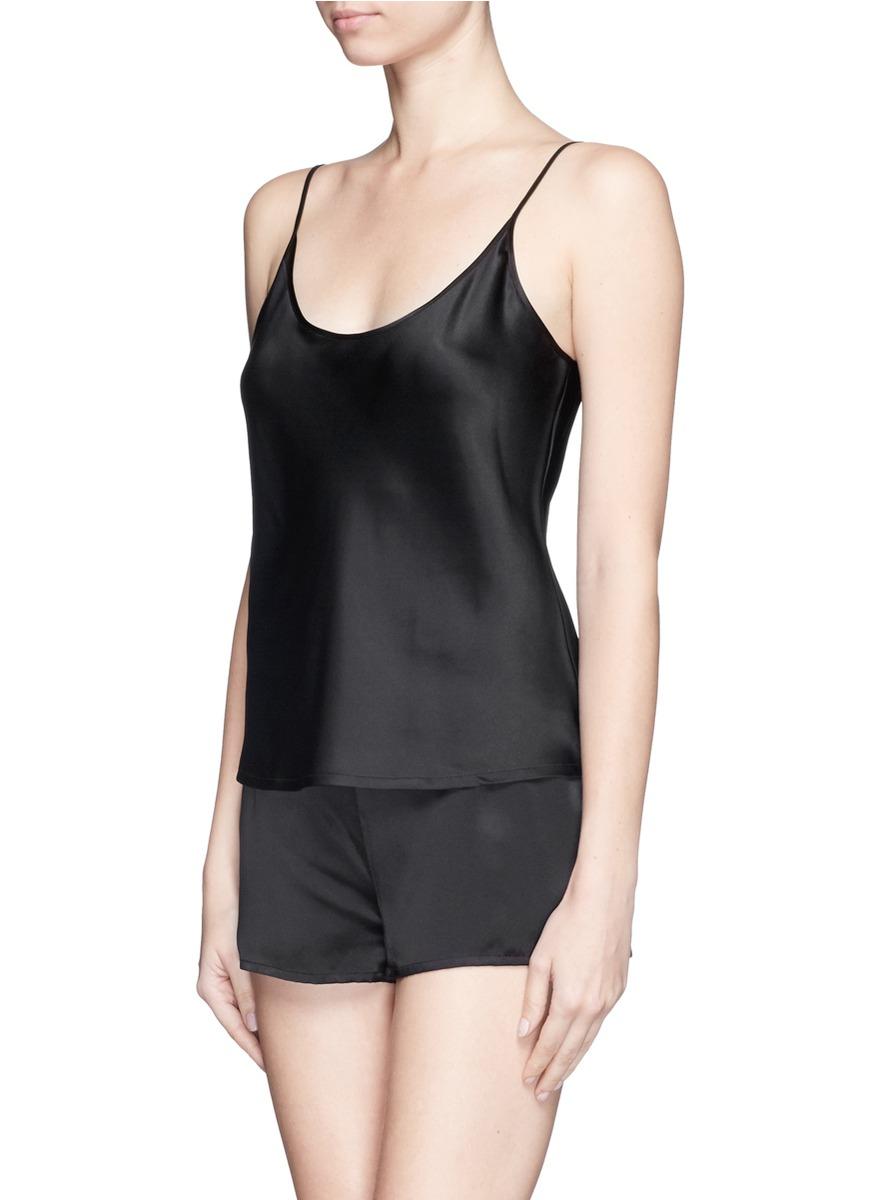 La perla Silk Satin Camisole in Black   Lyst