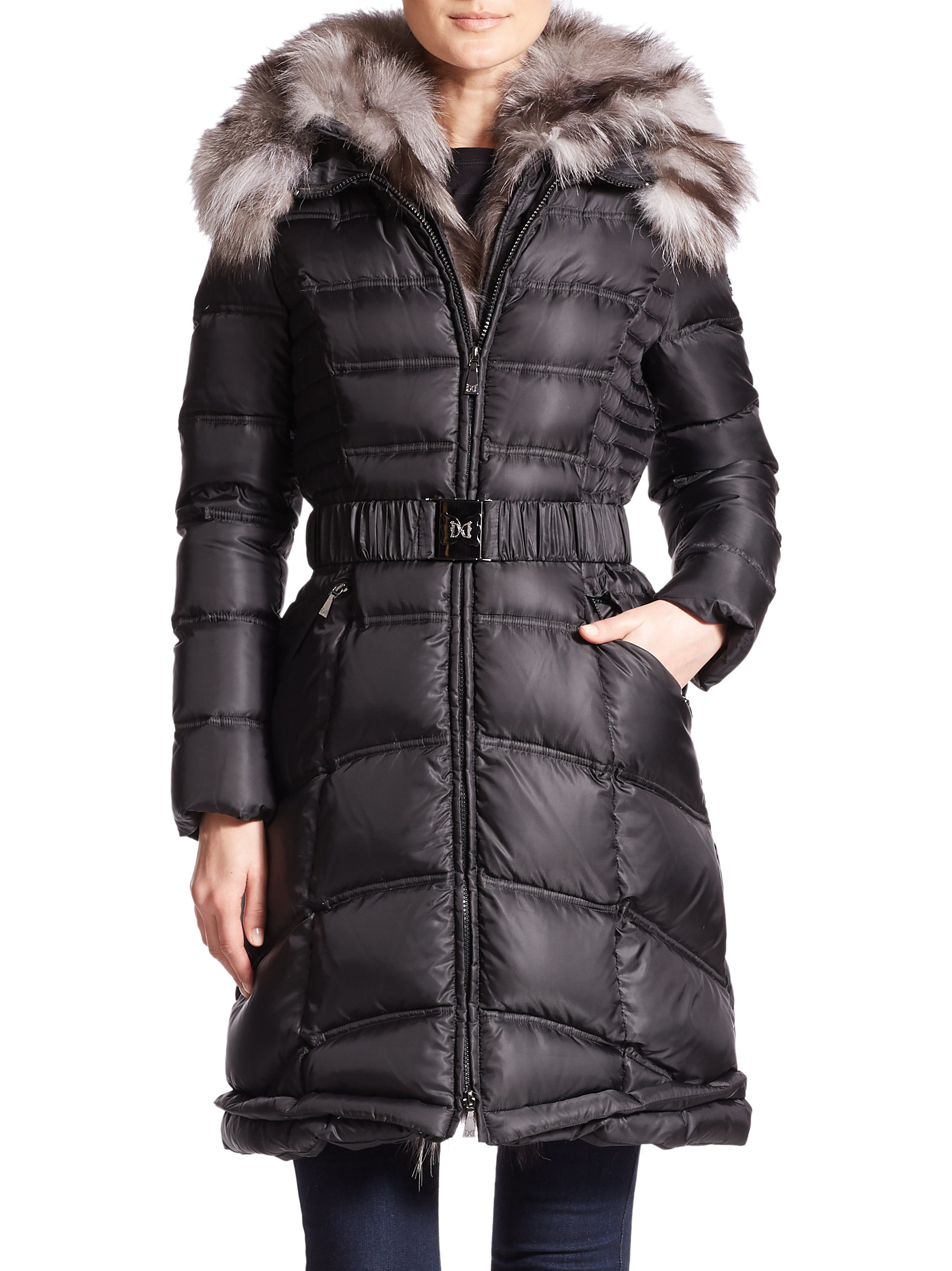 Dawn Levy Cat Ii Fur Trimmed Long Puffer Coat In Black Lyst