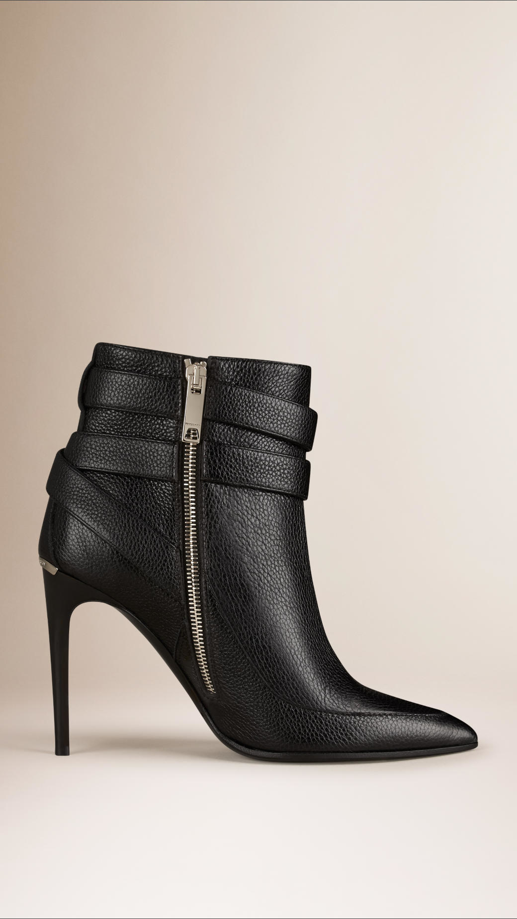 Burberry Buckle Detail Python Ankle Boots in Black