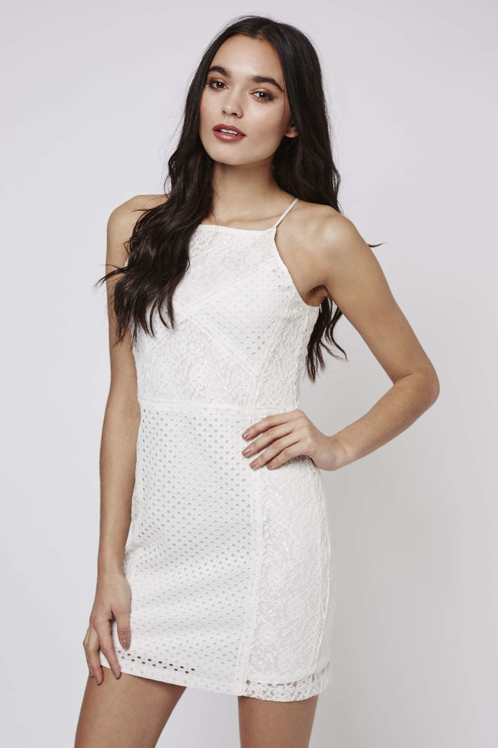 Topshop Strappy Floral Lace Bodycon Dress In Natural Lyst