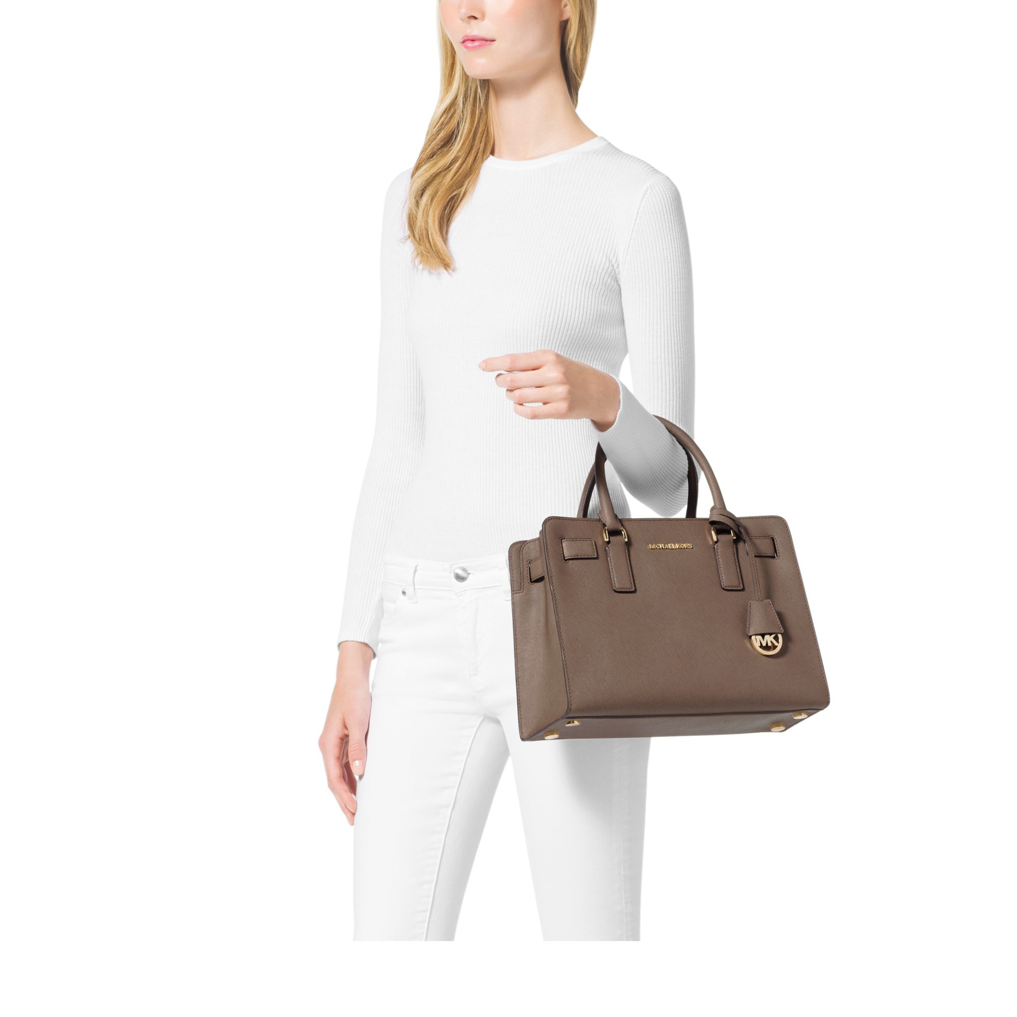 949100fd24 Womens Michael By Michael Kors ... MICHAEL Michael Kors Dark Dune Selma  Studded Large Tz Satchel Bag Michael Kors Selma Saffiano Leather  Colour-Block Medium ...
