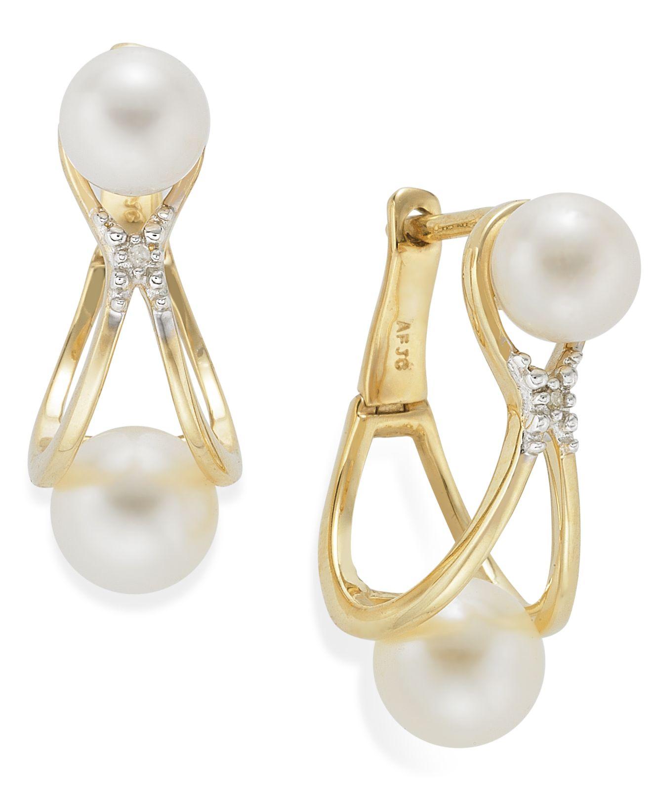 Lyst Macy S 14k Gold Earrings Cultured Freshwater Pearl 5mm