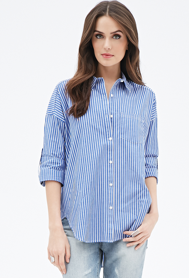 1dbf2d706a29 Forever 21 Contemporary Striped Button-down Shirt in Blue - Lyst