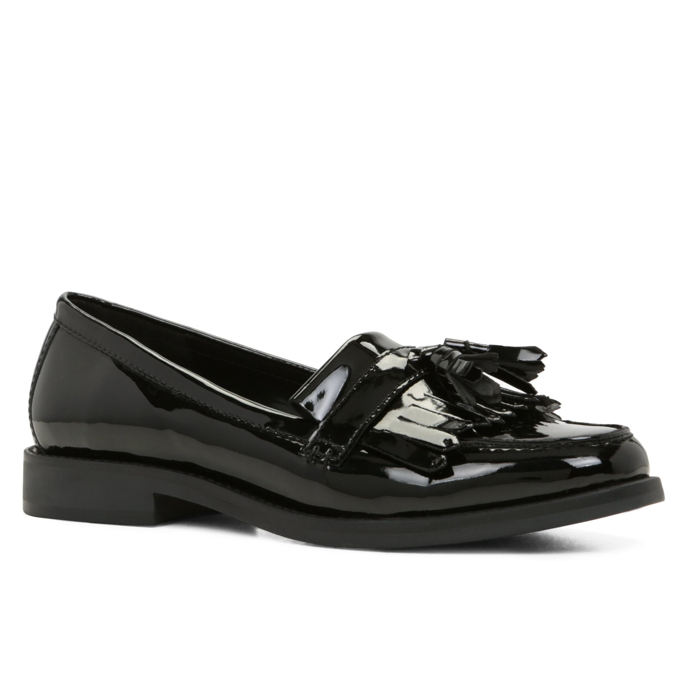 aldo crisp slip on structured shoes in black black patent