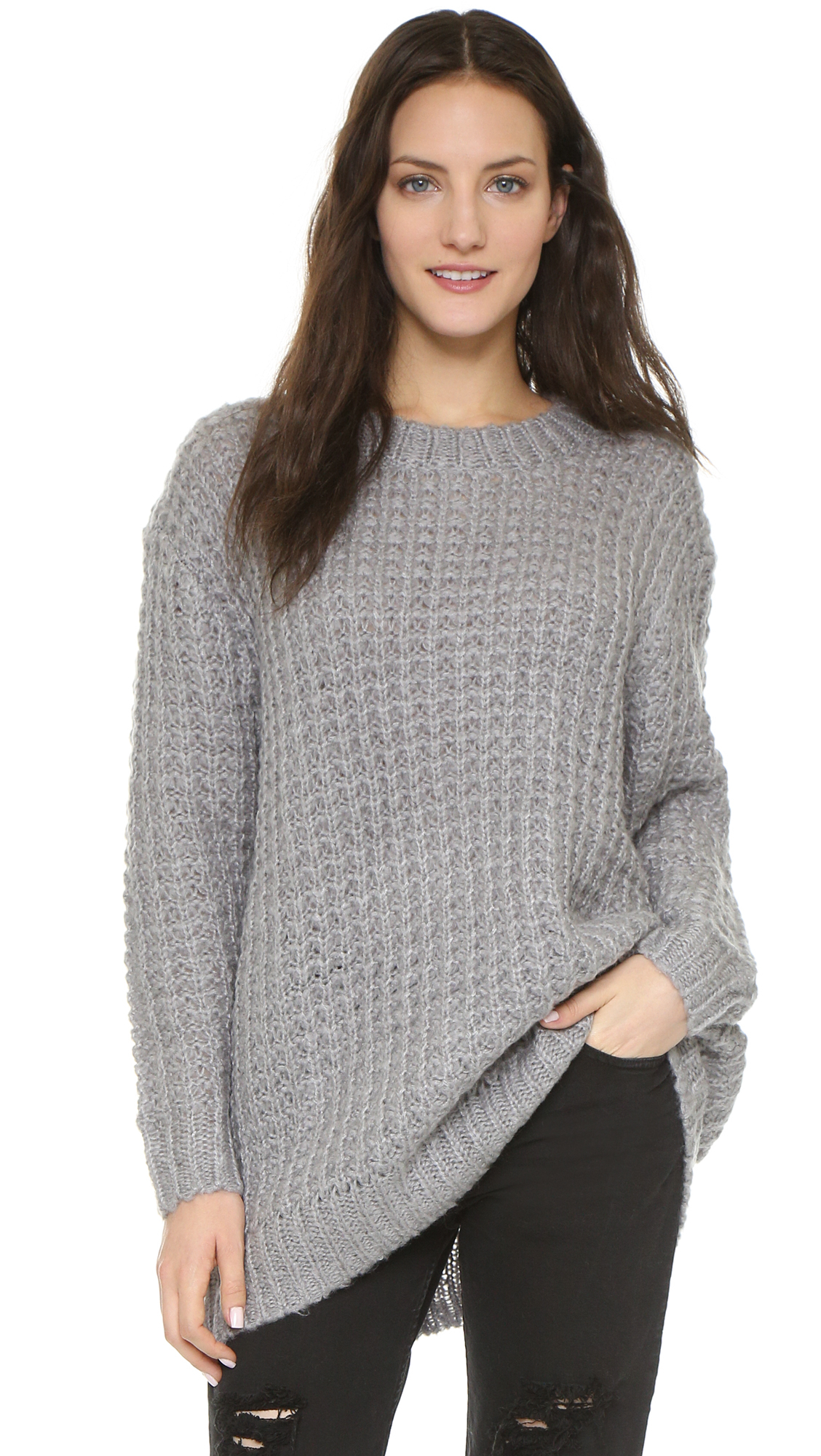 Cheap monday Shock Knit Sweater in Gray | Lyst