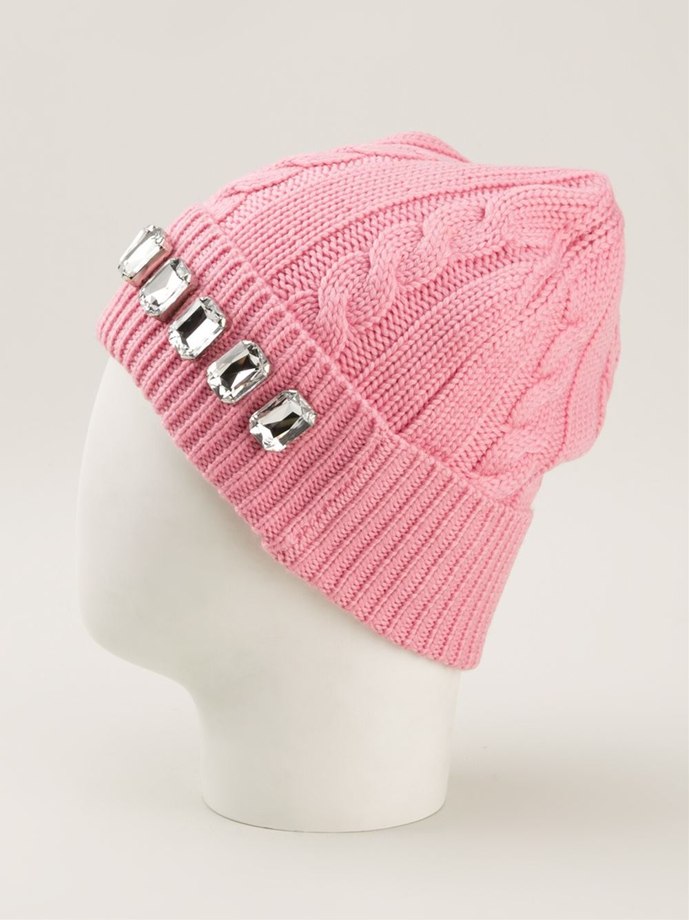 f8518283475 Lyst - Markus Lupfer Embellished Cable Knit Beanie in Pink