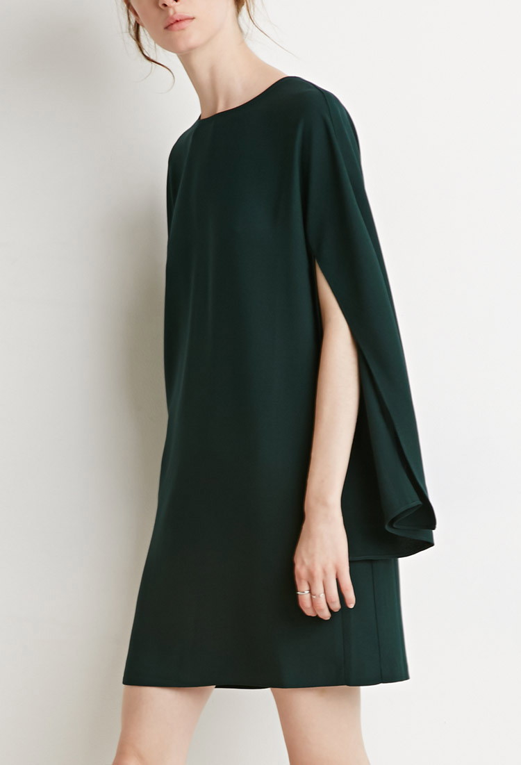 Forever 21 Contemporary Slit Sleeve Crepe Shift Dress In
