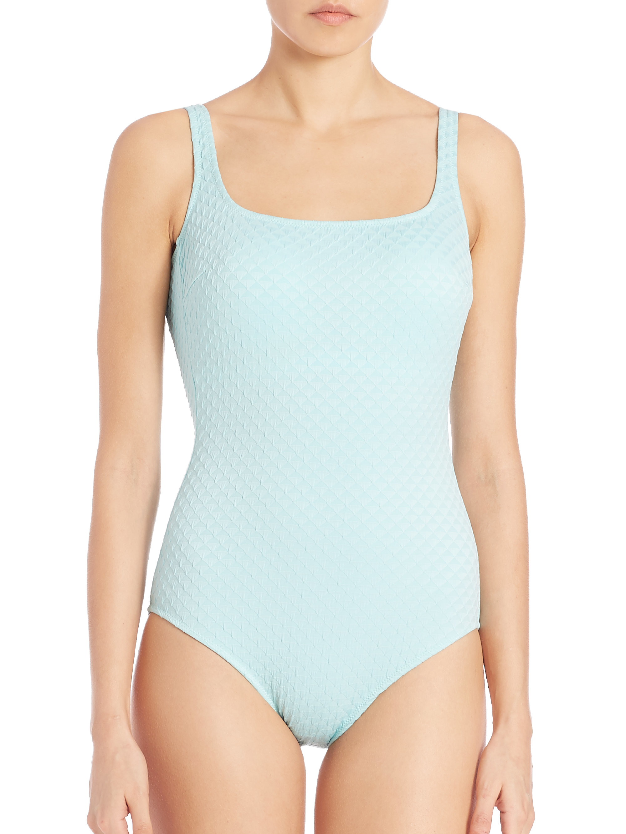 Gottex One Piece Square Neck Tank Swimsuit In Blue Lyst