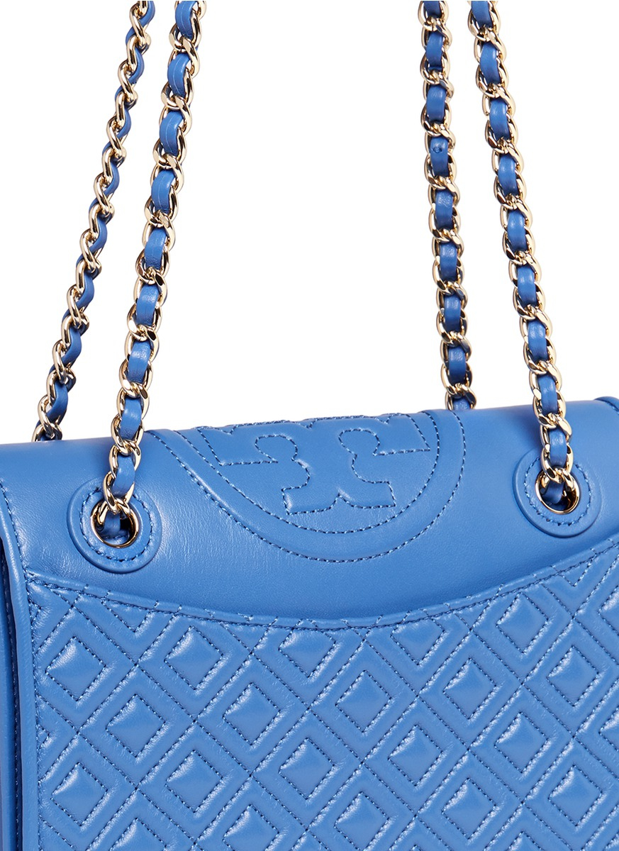Lyst Tory Burch Fleming Medium Quilted Leather Bag In Blue