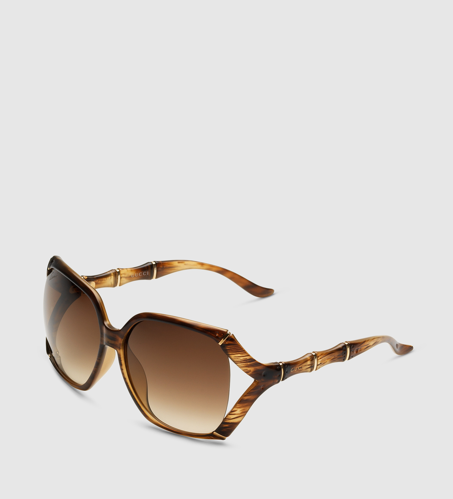 Lyst - Gucci Square Sunglasses With Bamboo Effect in Natural for Men d252785e0603