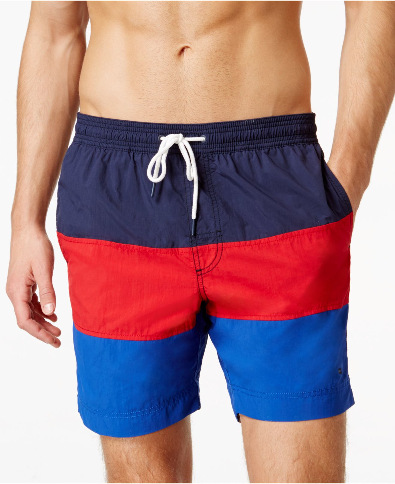 6e1d999d18 Tommy Hilfiger Waterford Colorblocked Drawstring Swim Trunks in Blue ...