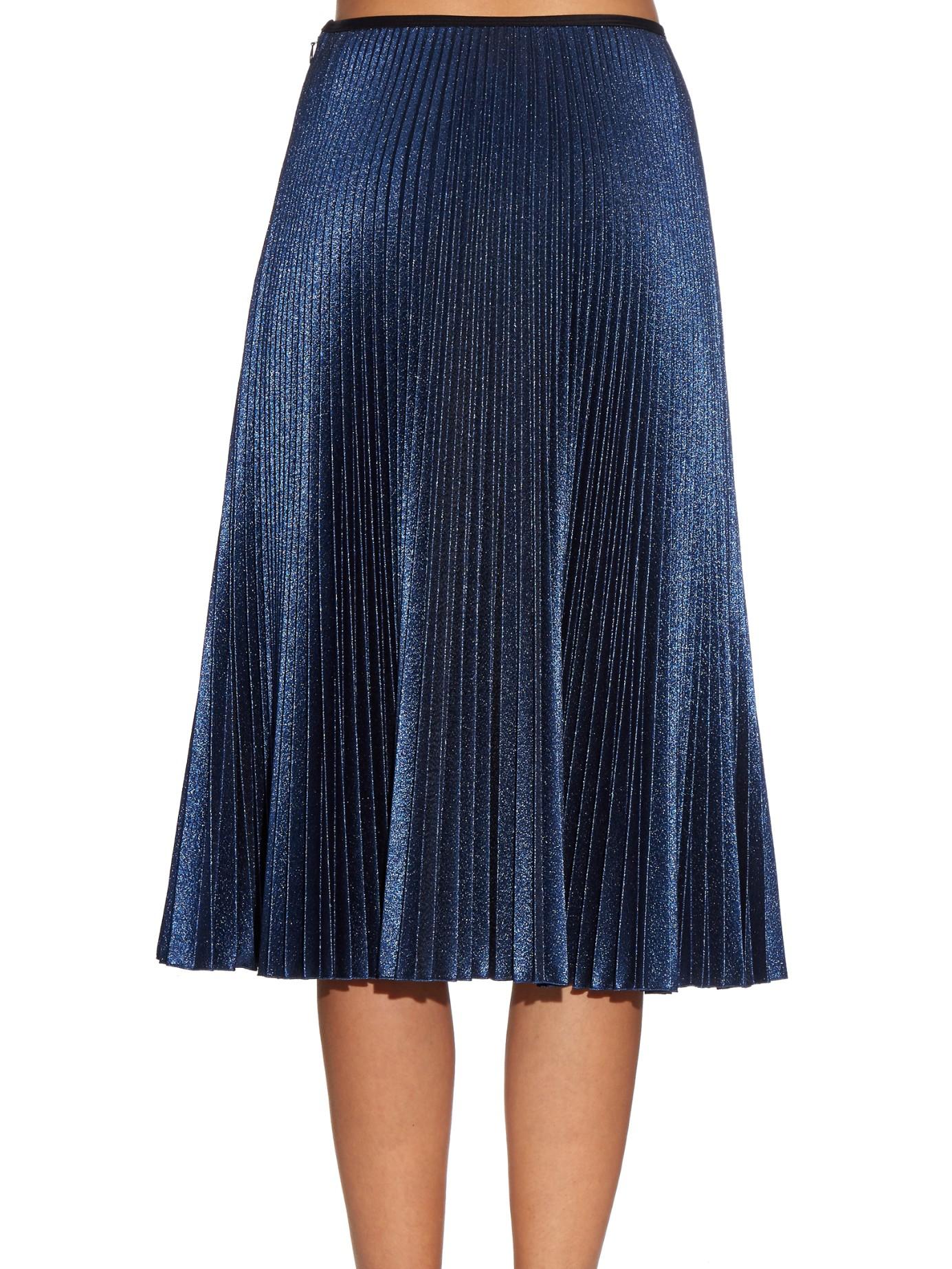 Electric blue pleated midi skirt – Fashionable skirts 2017 photo blog