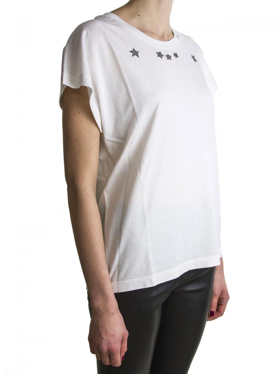 Saint laurent white star t shirt in white lyst for Saint laurent shirt womens