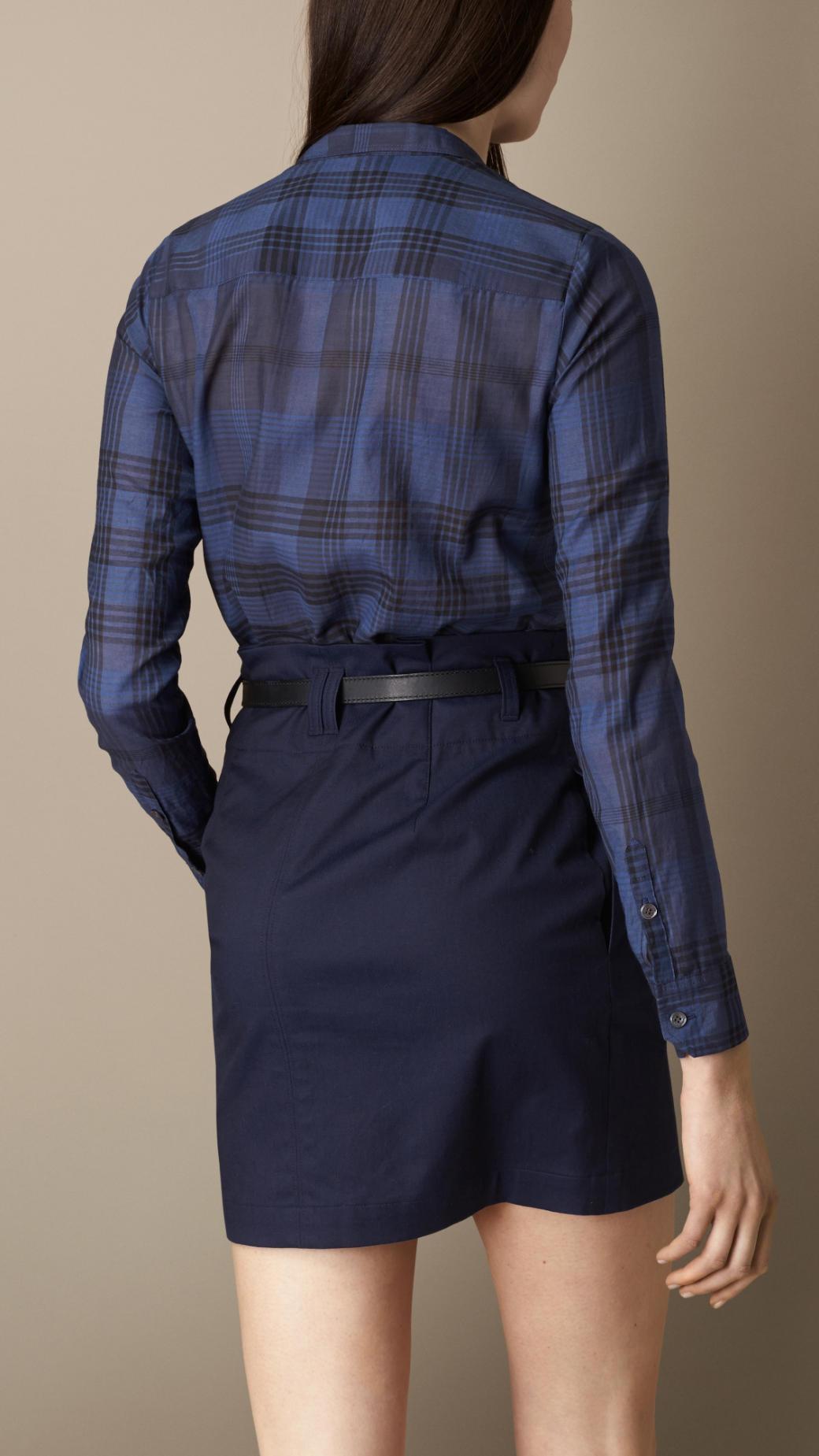 Lyst Burberry Check Cotton Silk Shirt Dress In Blue