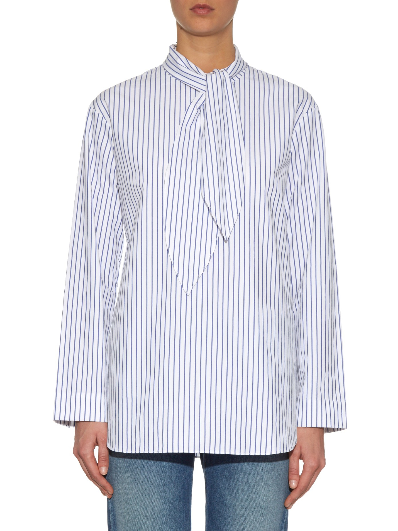 Lyst trademark tie neck striped cotton shirt in blue for Blue striped shirt with tie